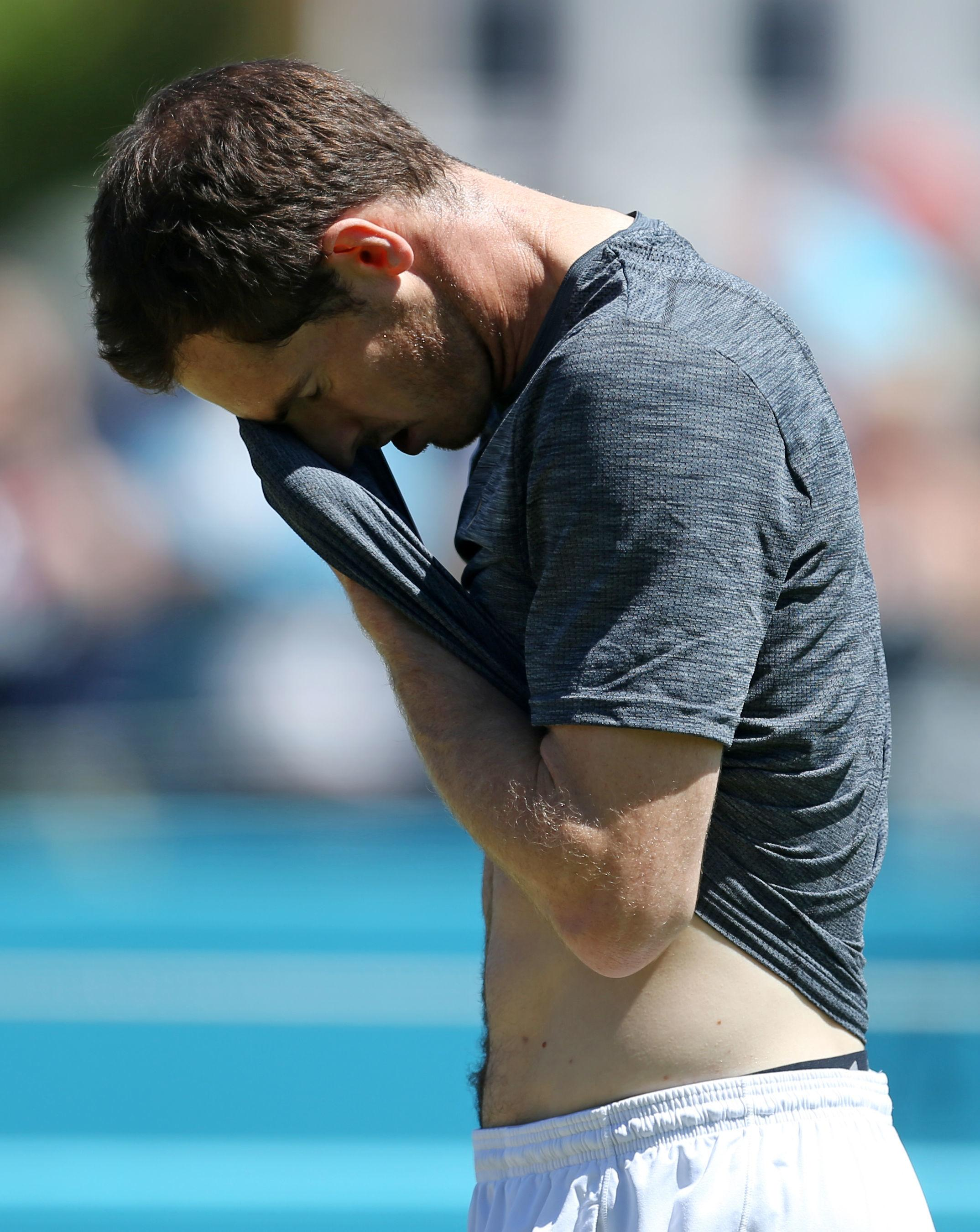 Andy Murray was forced to work hard in Monday's heat at Queen's Club