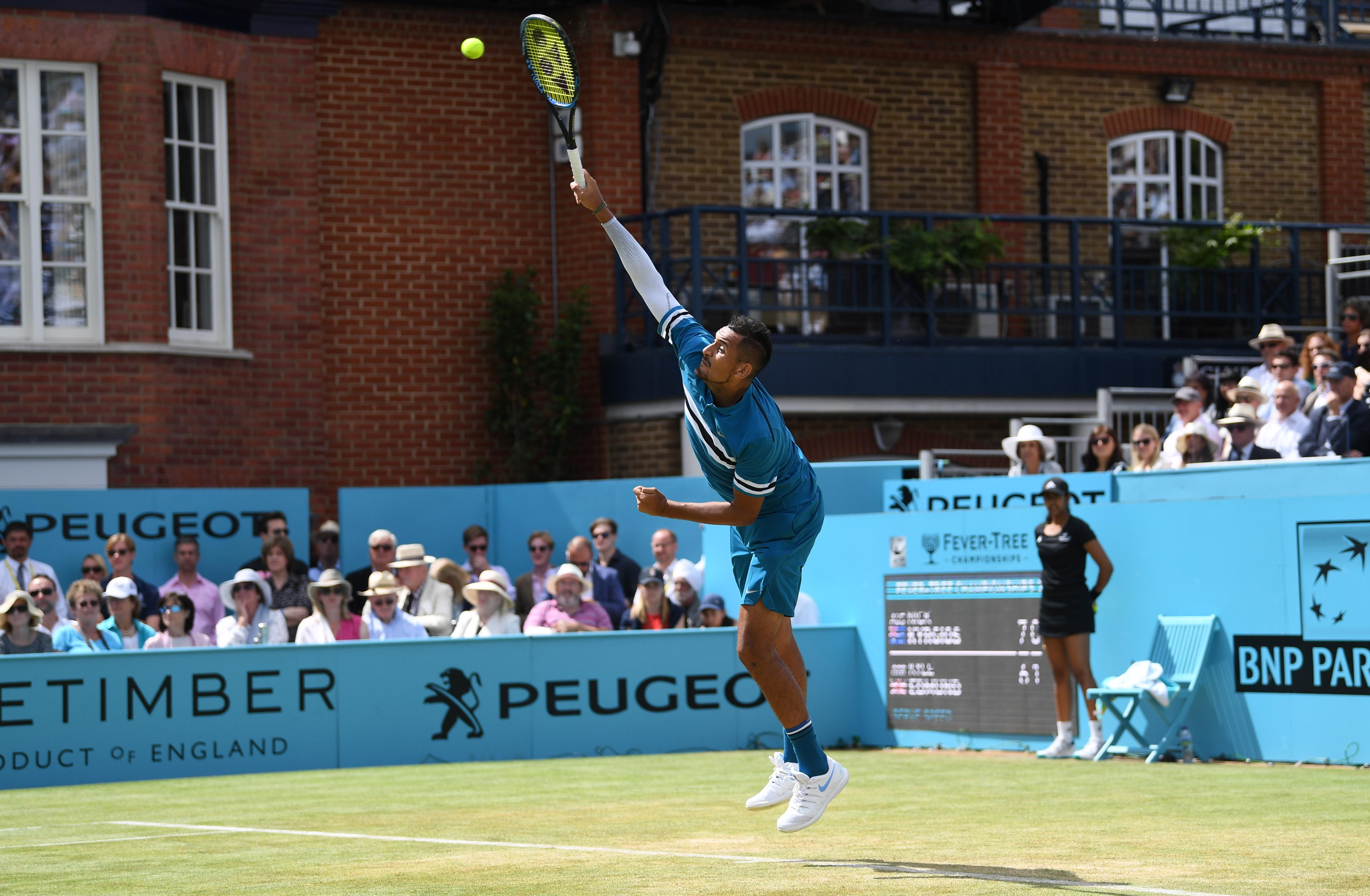 Nick Kyrgios served well throughout his second round contest with Kyle Edmund