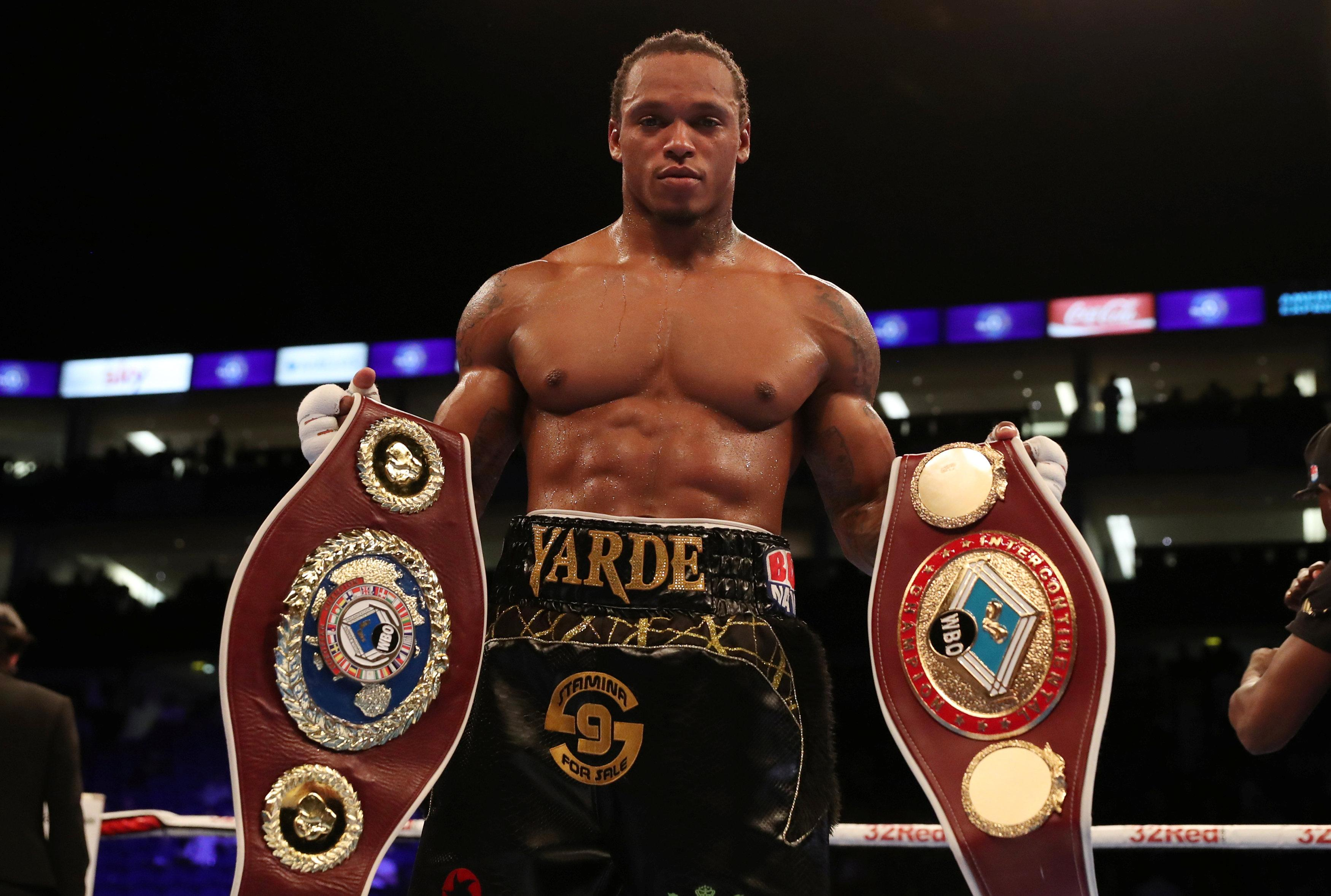 Anthony Yarde poses with the WBO European and Intercontinental Light-Heavyweight belts