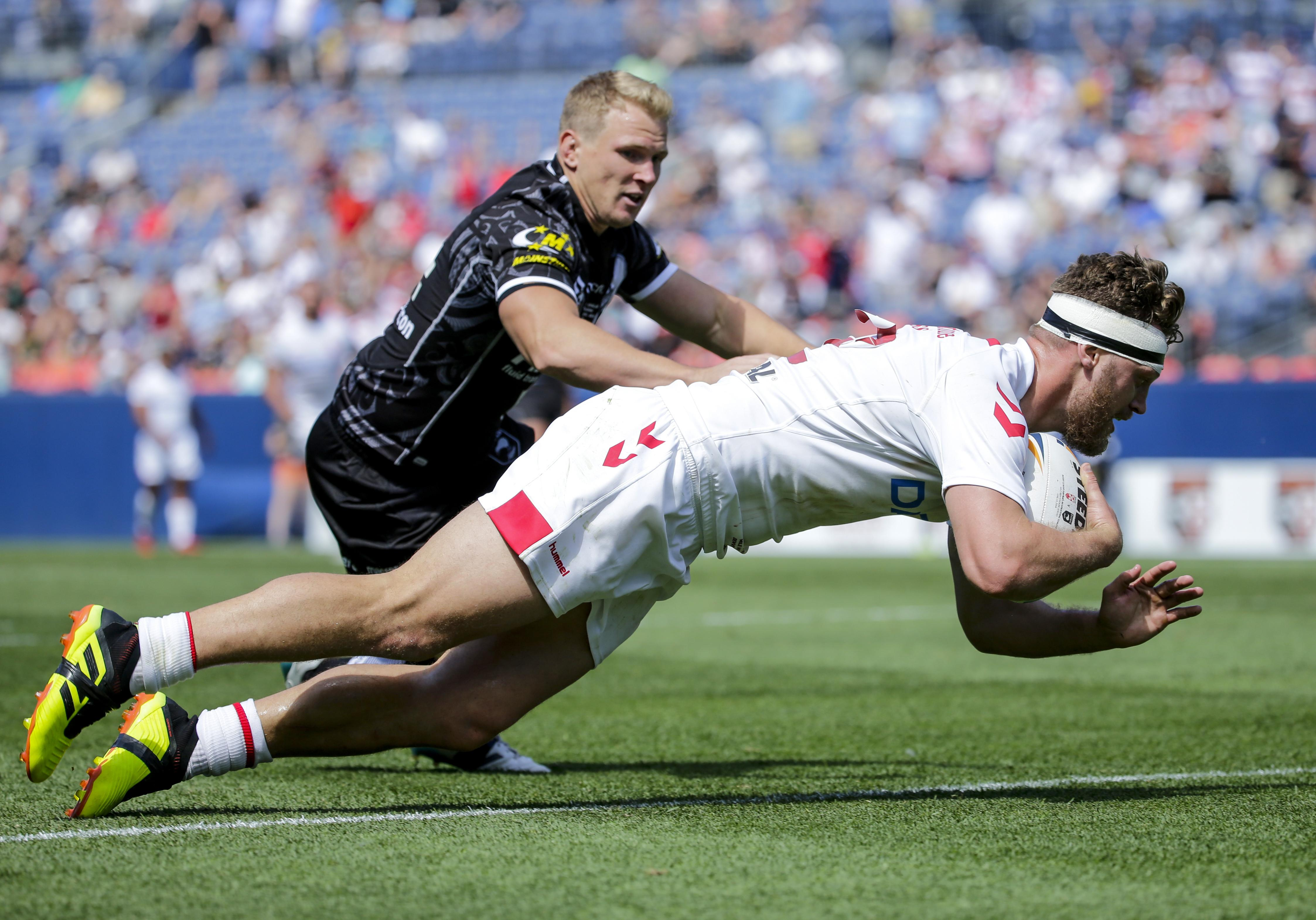 Elliott Whitehead scored twice as England fought back from 12 points down