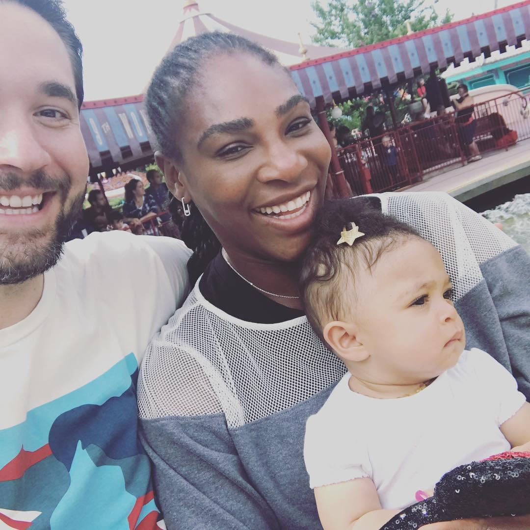 Serena Williams with husband and daughter Alexis
