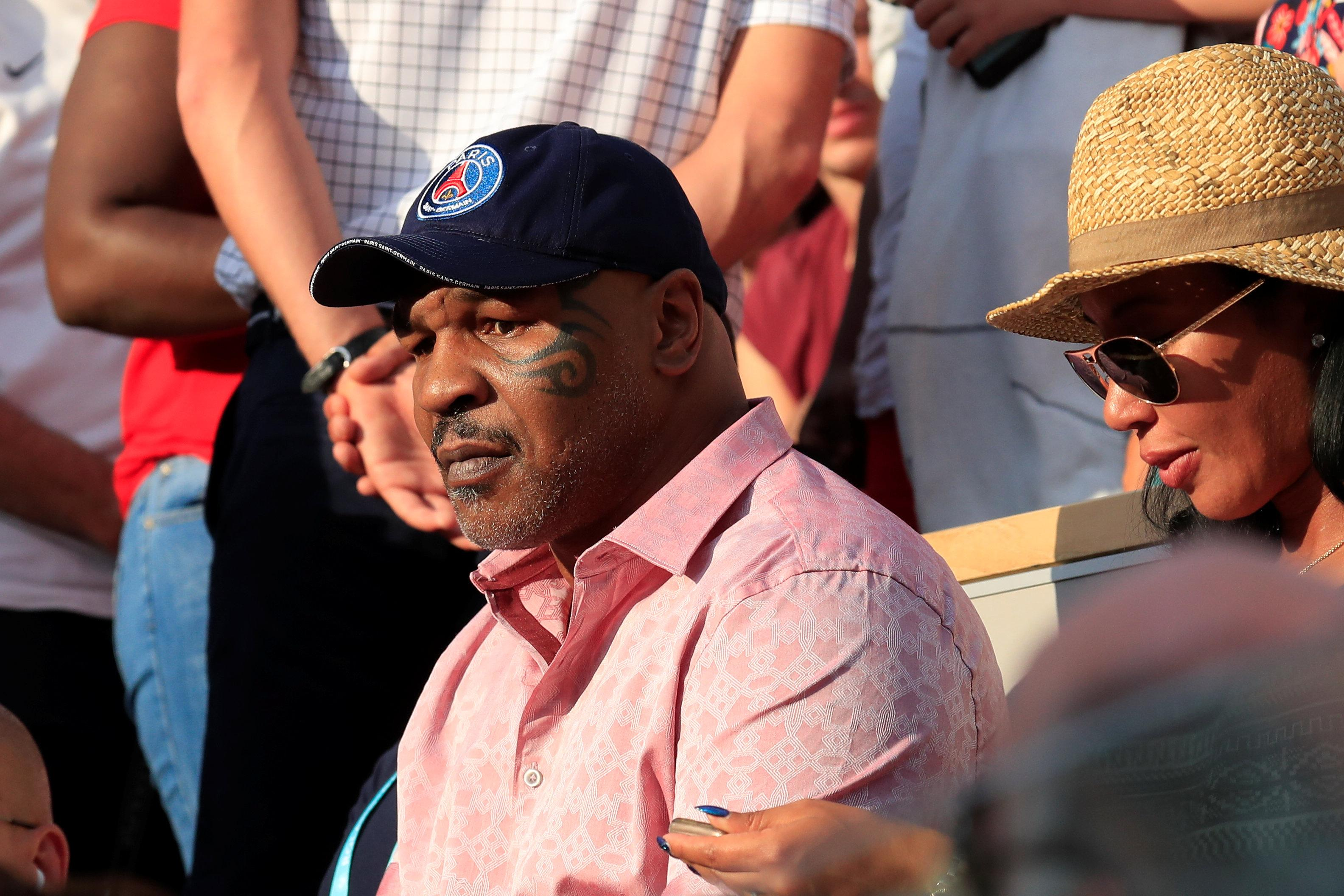 Mike Tyson watched the action from the stands in Paris