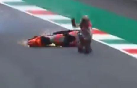 Pirro landed hard but appears to have escaped injury