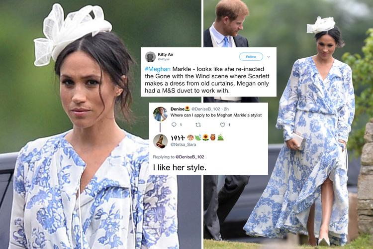 People are comparing Meghan Markle's floral maxi dress to an M&S duvet
