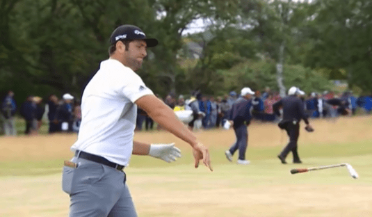 Fans were left shocked when Jon Rahm vented his frustration on the first nine holes