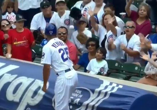 Chicago Cubs player Will Venable threw the ball to a young child sat in the front row