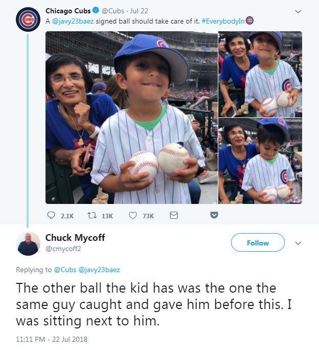 Cubs fan Chuck Mycoff was sat next to the man in the sunglasses and tweeted about his version of events