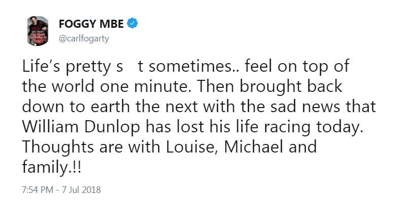 Motorcycling legend Carl Fogarty paid tribute to Dunlop