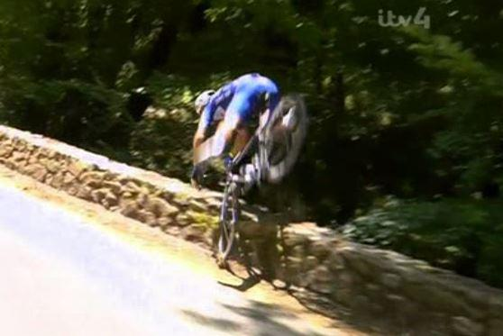 Belgian cyclist Philippe Gilbert flipped over a wall at the Tour de France