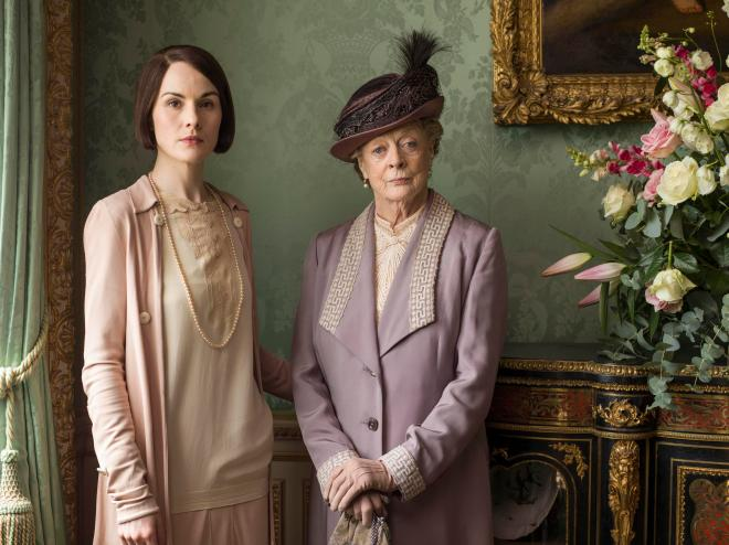 Michelle Dockery, left, as Lady Mary with Maggie Smith, right, as The Dowager in Downton Abbey