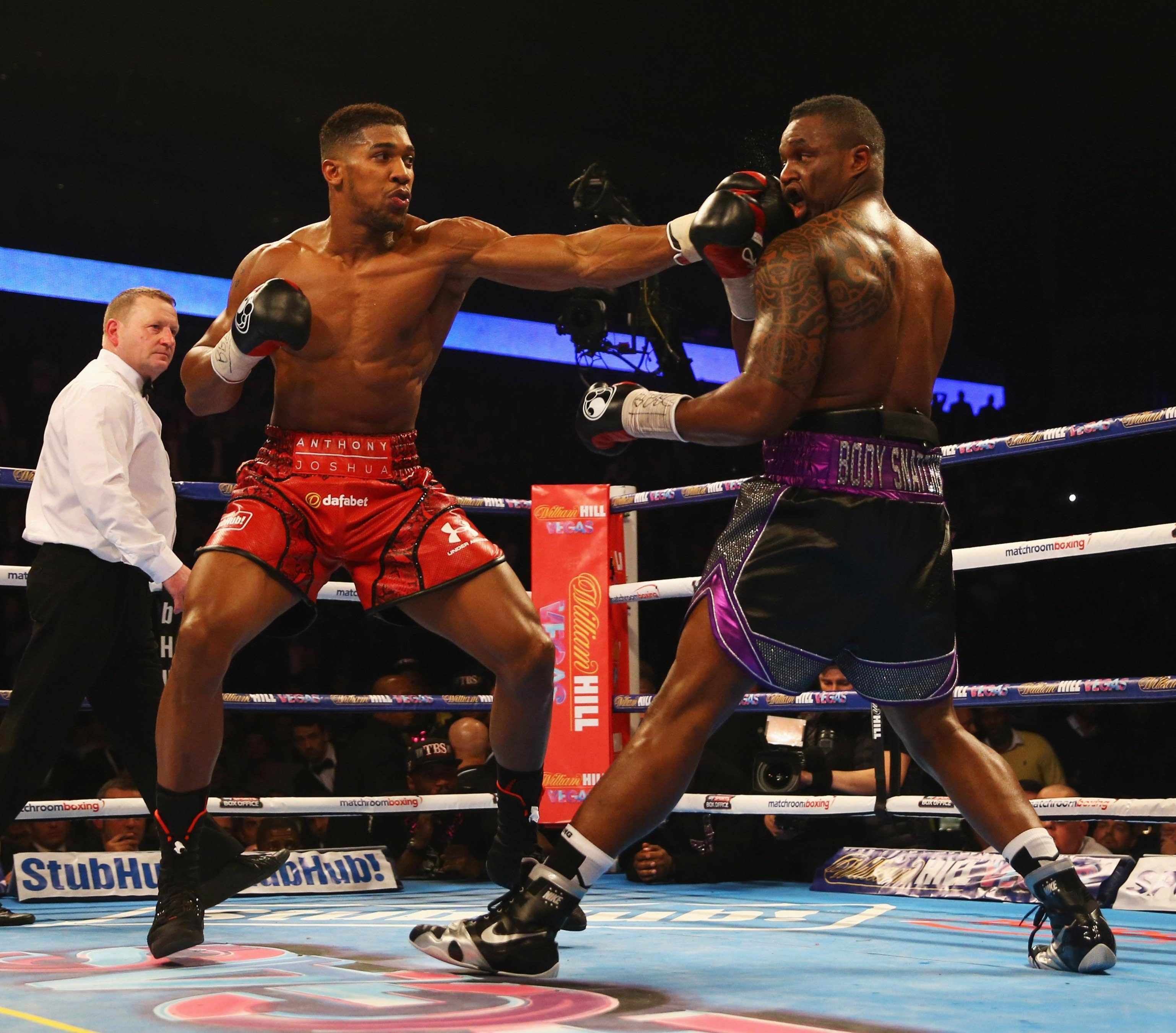 Anthony Joshua came out on top against Dillian Whyte in the seventh round