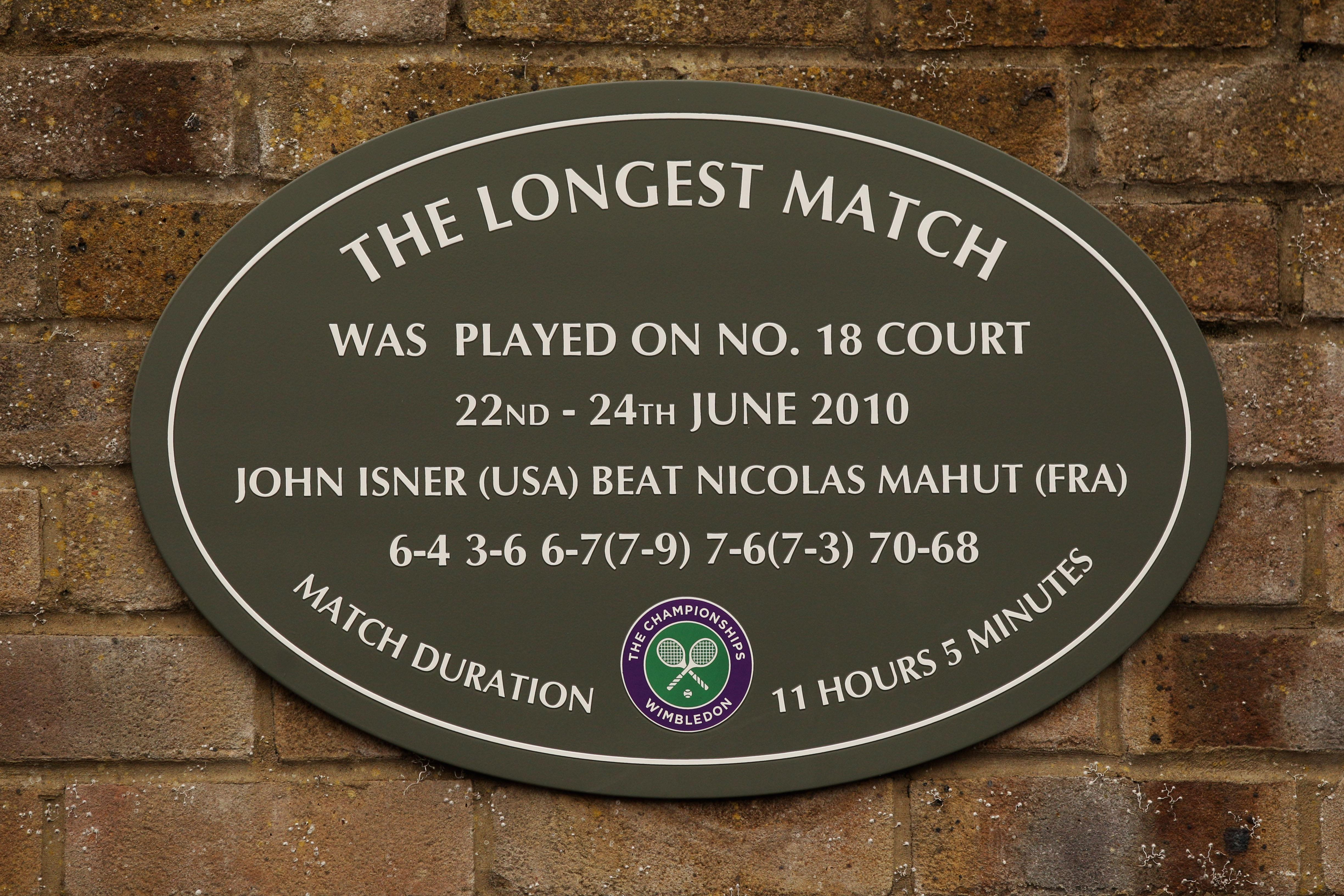 A plaque was erected at Wimbledon commemorating the world record match