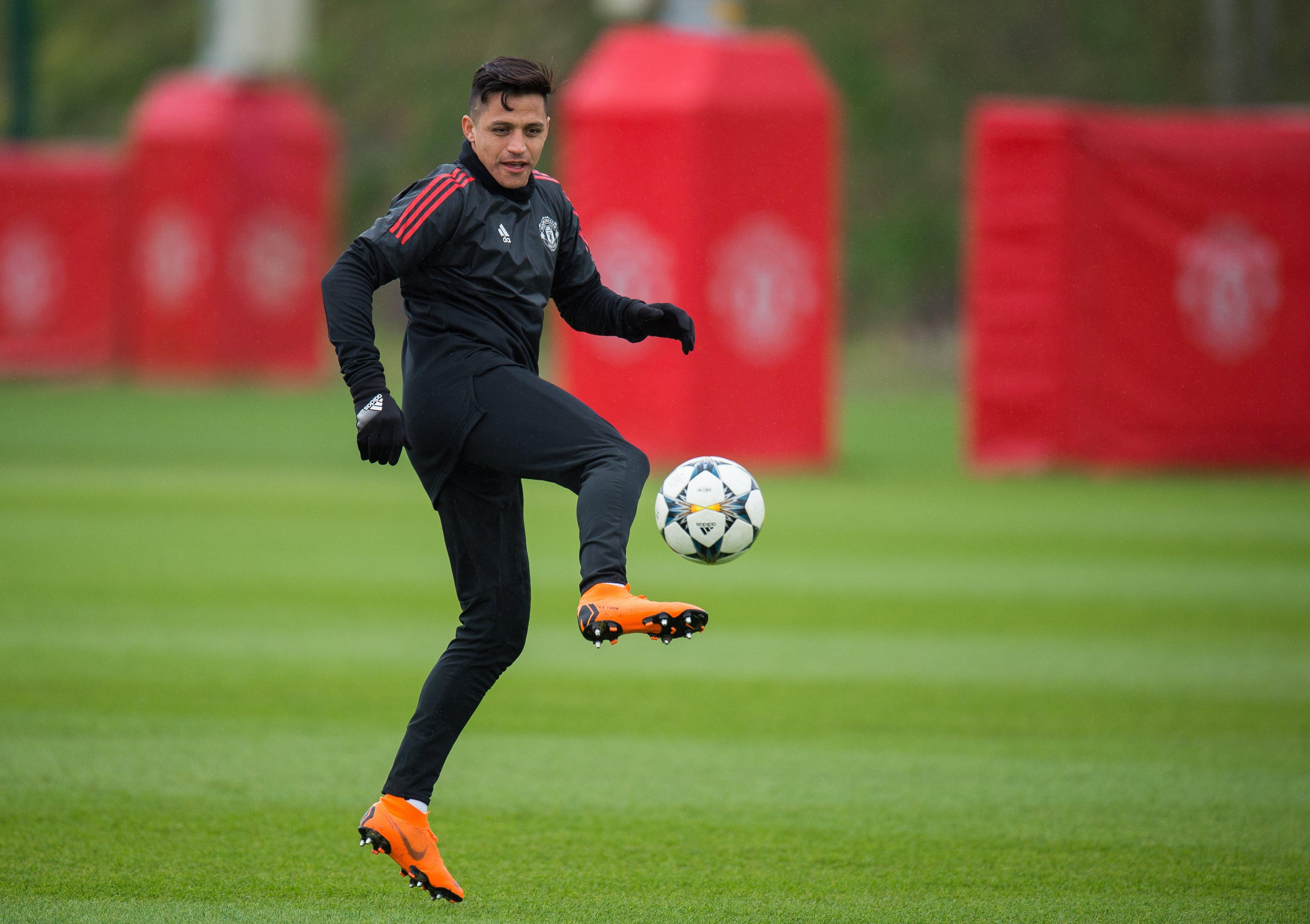 Alexis Sanchez had been training alone at Carrington due to visa issues
