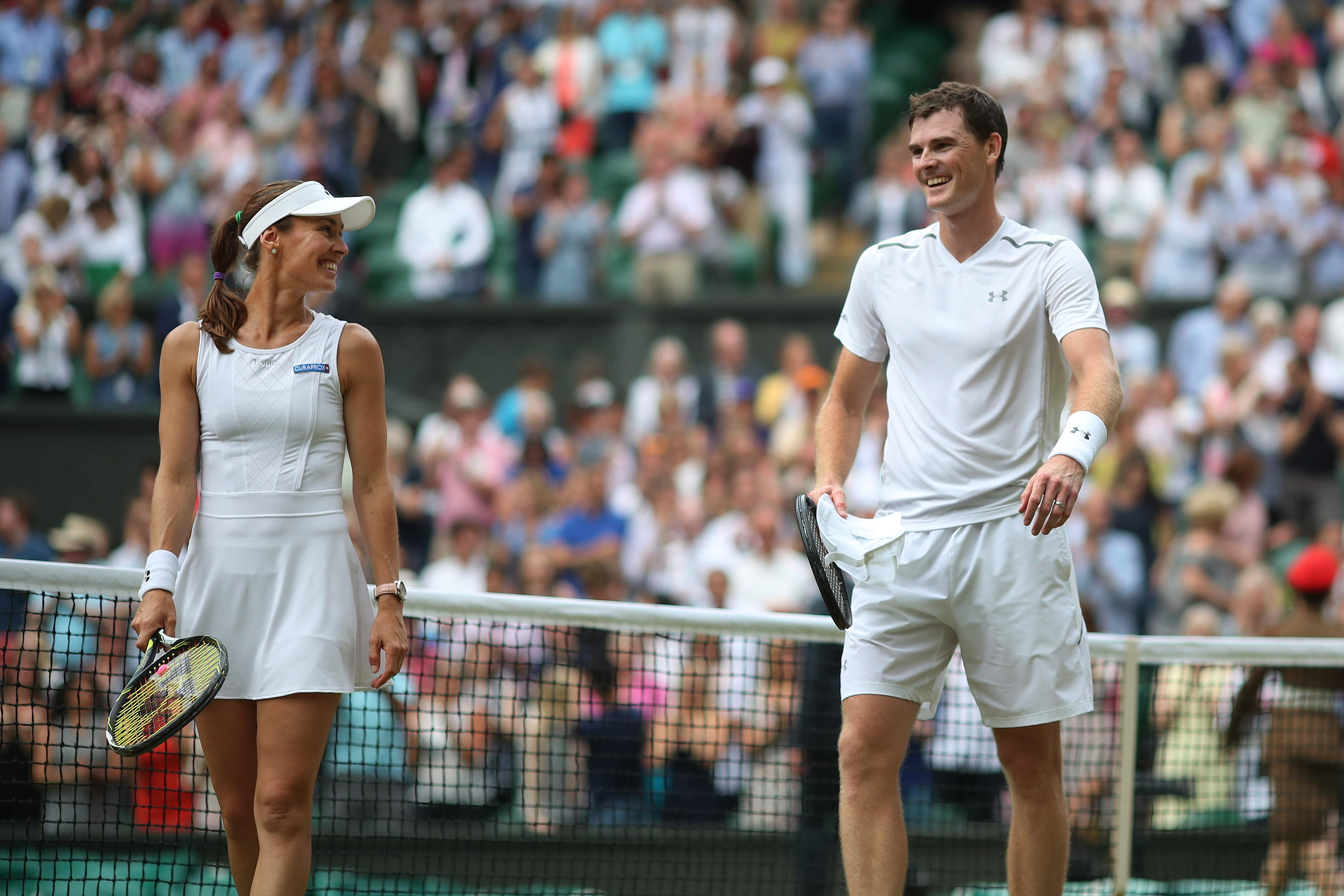 Jamie Murray and Martina Hingis of Switzerland celebrate victory over Henri Kontinen of Finland and Heather Watson of Great Britain in the Mixed Doubles Final last year