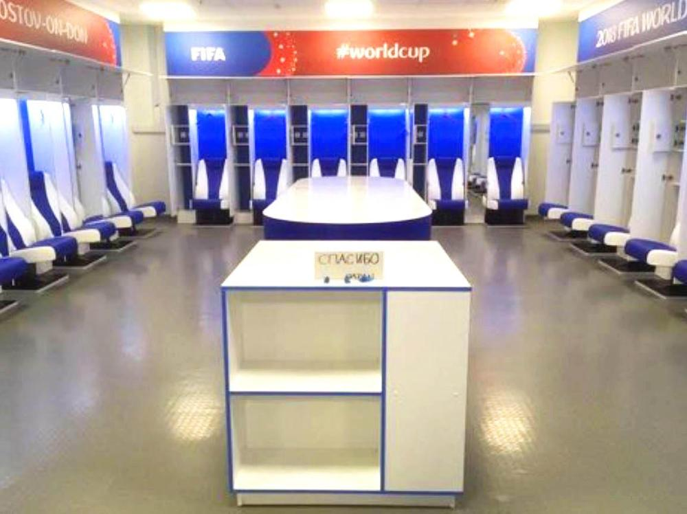 Japan side tidied the dressing room and left a thank you in Russian