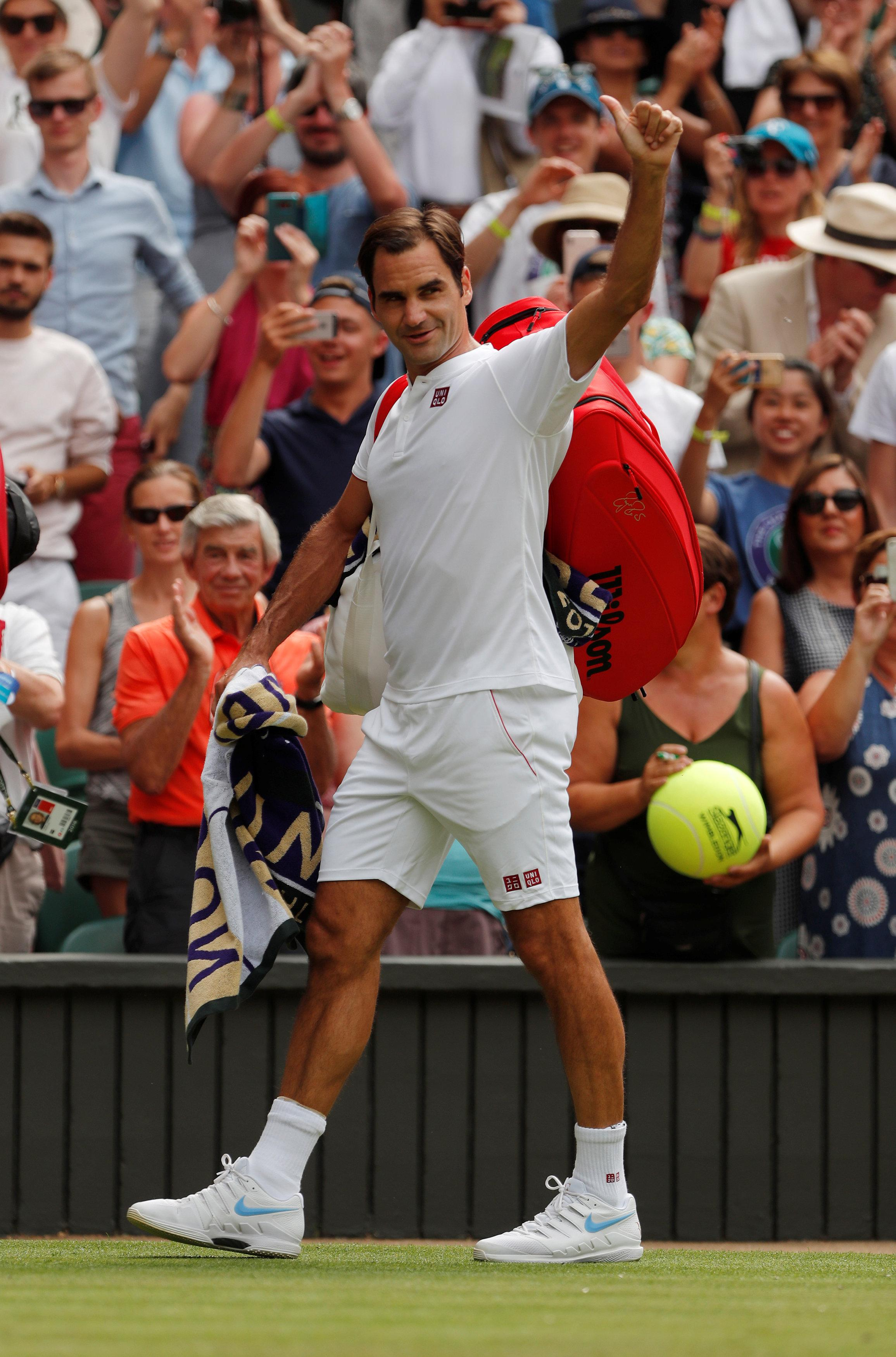 Roger Federer has given an insight to the huge amounts of kit he brings in his bags to Wimbledon