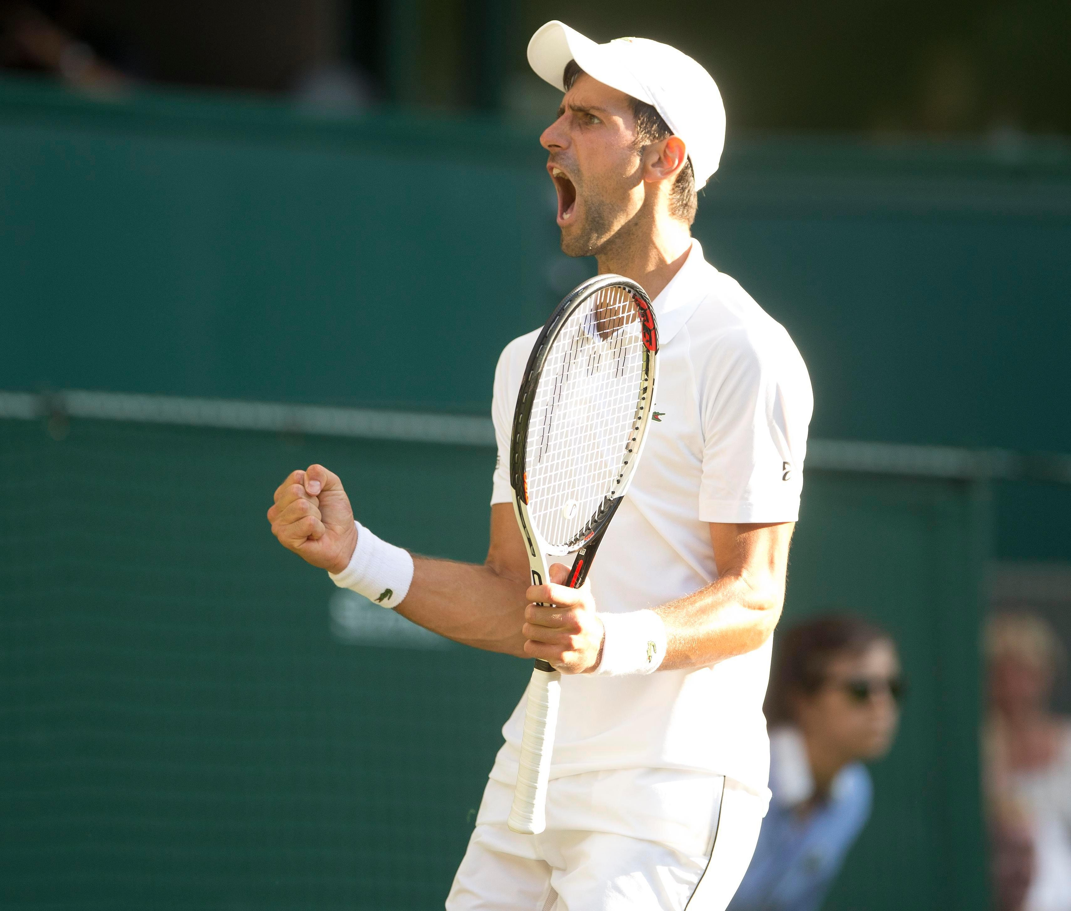 Djokovic was clearly over the moon when winning some crucial points against his Wimbledon opponent