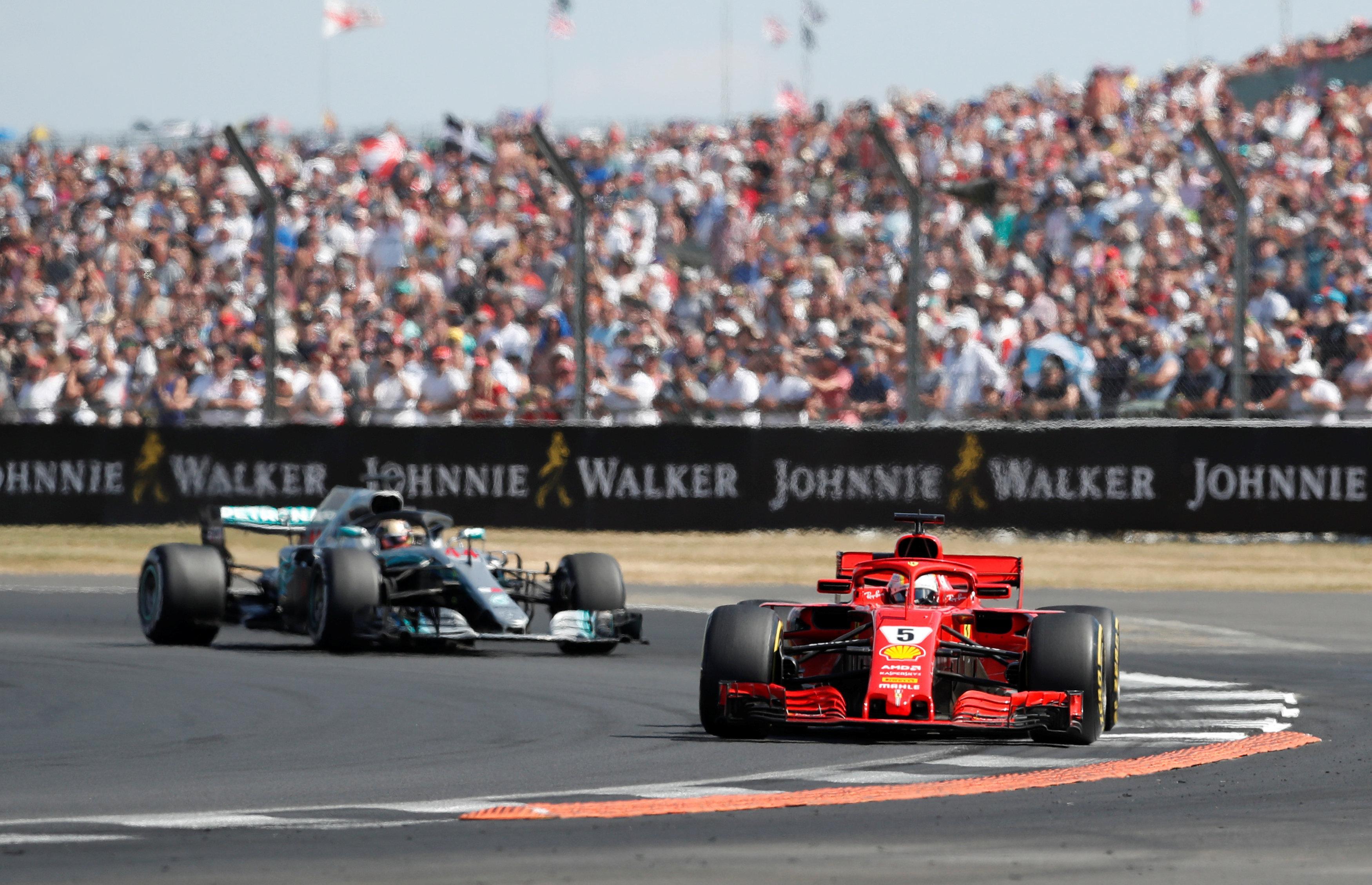 The Ferrari star leads Mercedes driver Lewis Hamilton