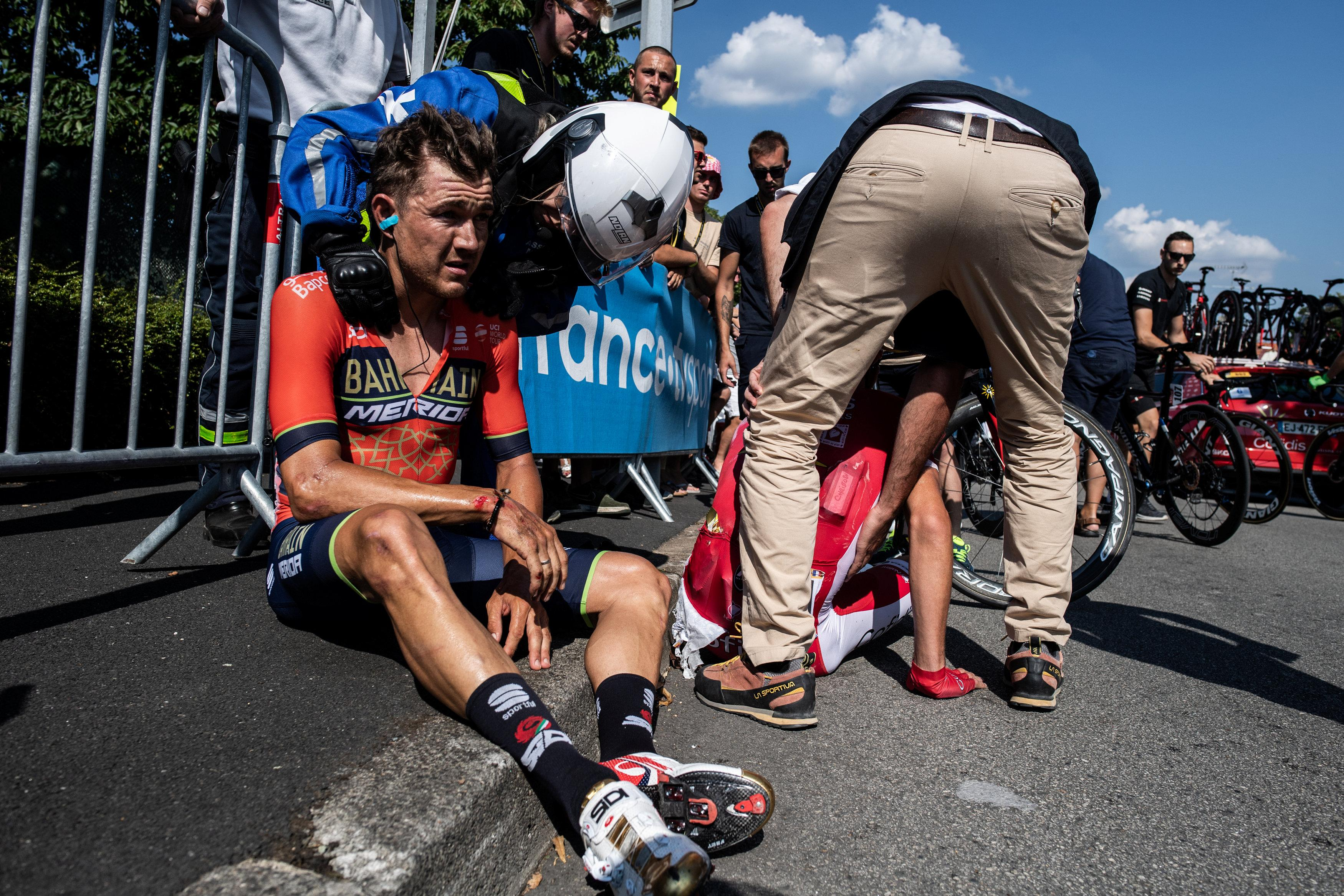Luis Leon Sanchez was one of many crashes on stage two of the Tour de France