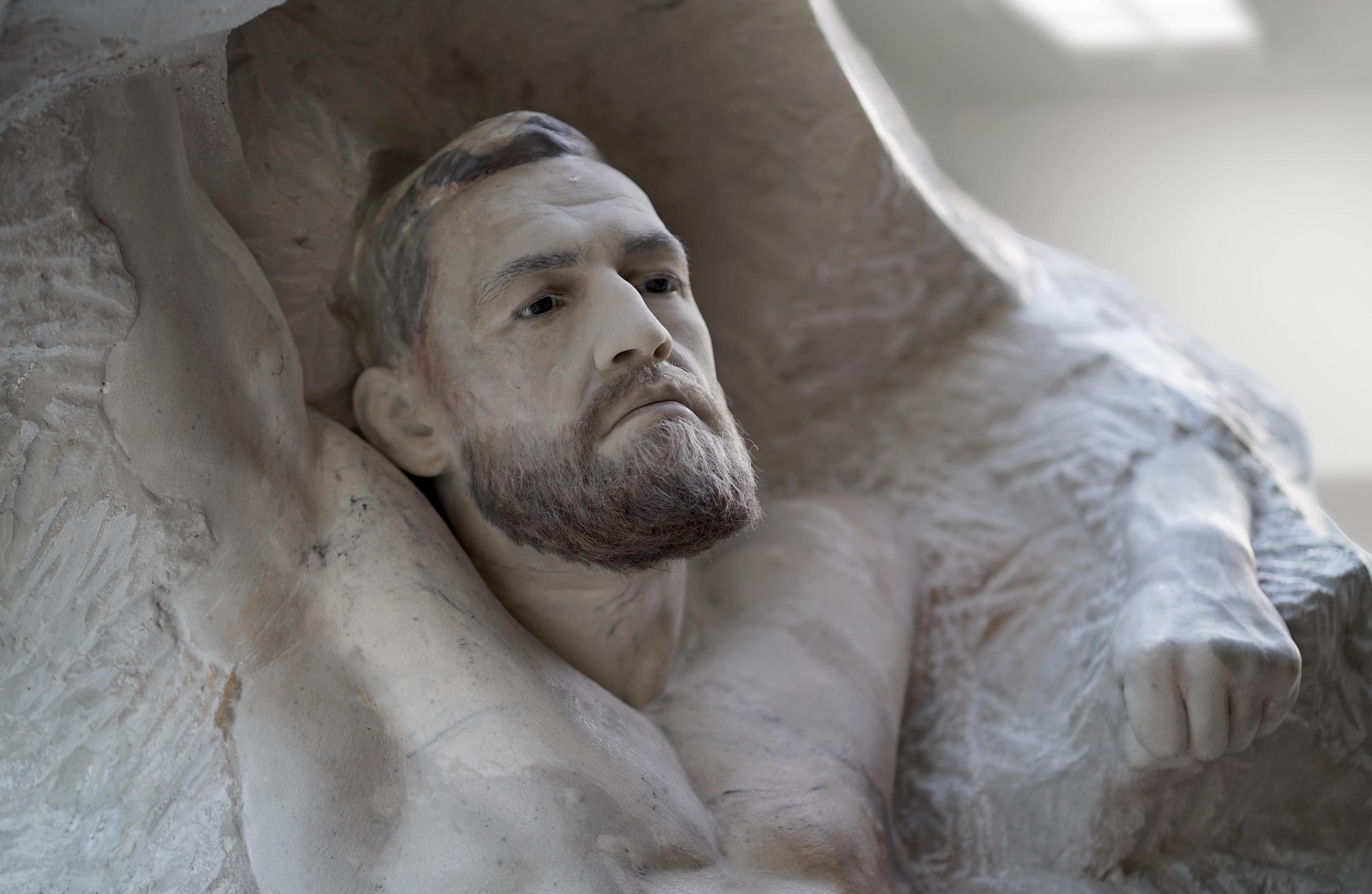 The piece took five months to create, and even used real hair for the UFC man's beard