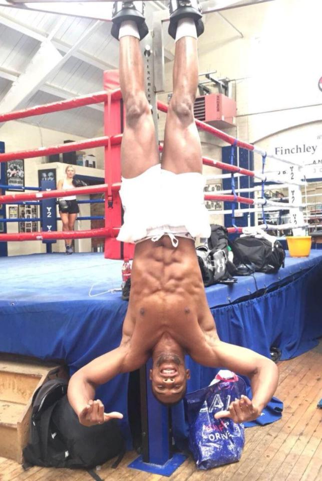 Anthony Joshua posted an image of himself upside down on social media as he waits for his Sept 22 fight