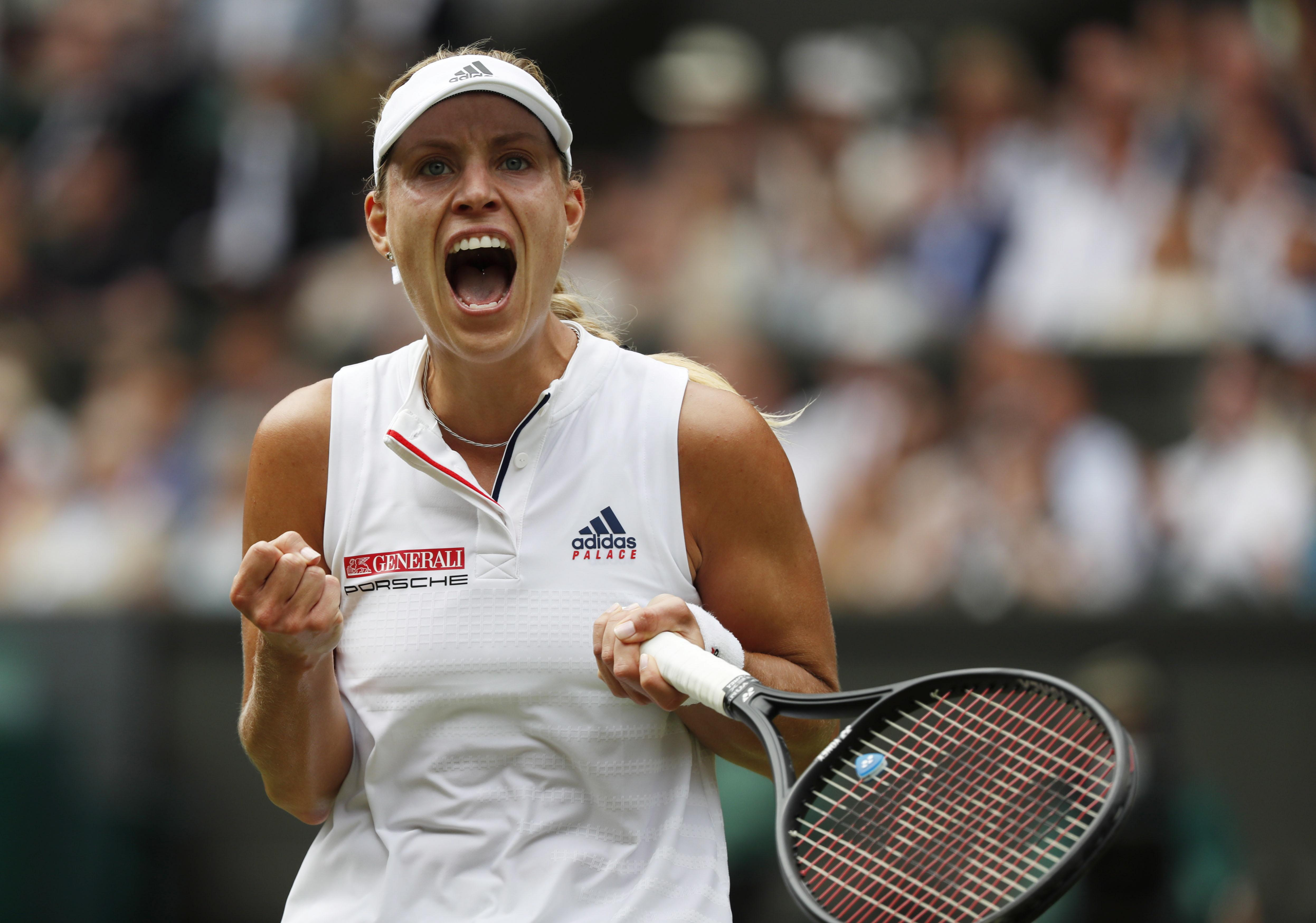 Angelique Kerber lets out a roar as she seals a place in the semi-finals of Wimbledon by beating Daria Kasatkina