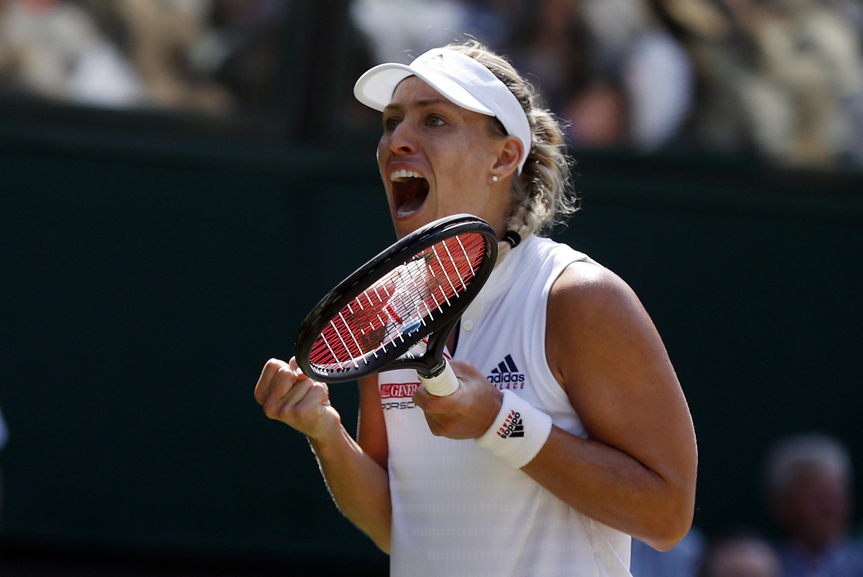 Angelique Kerber celebrates after reaching Wimbledon final
