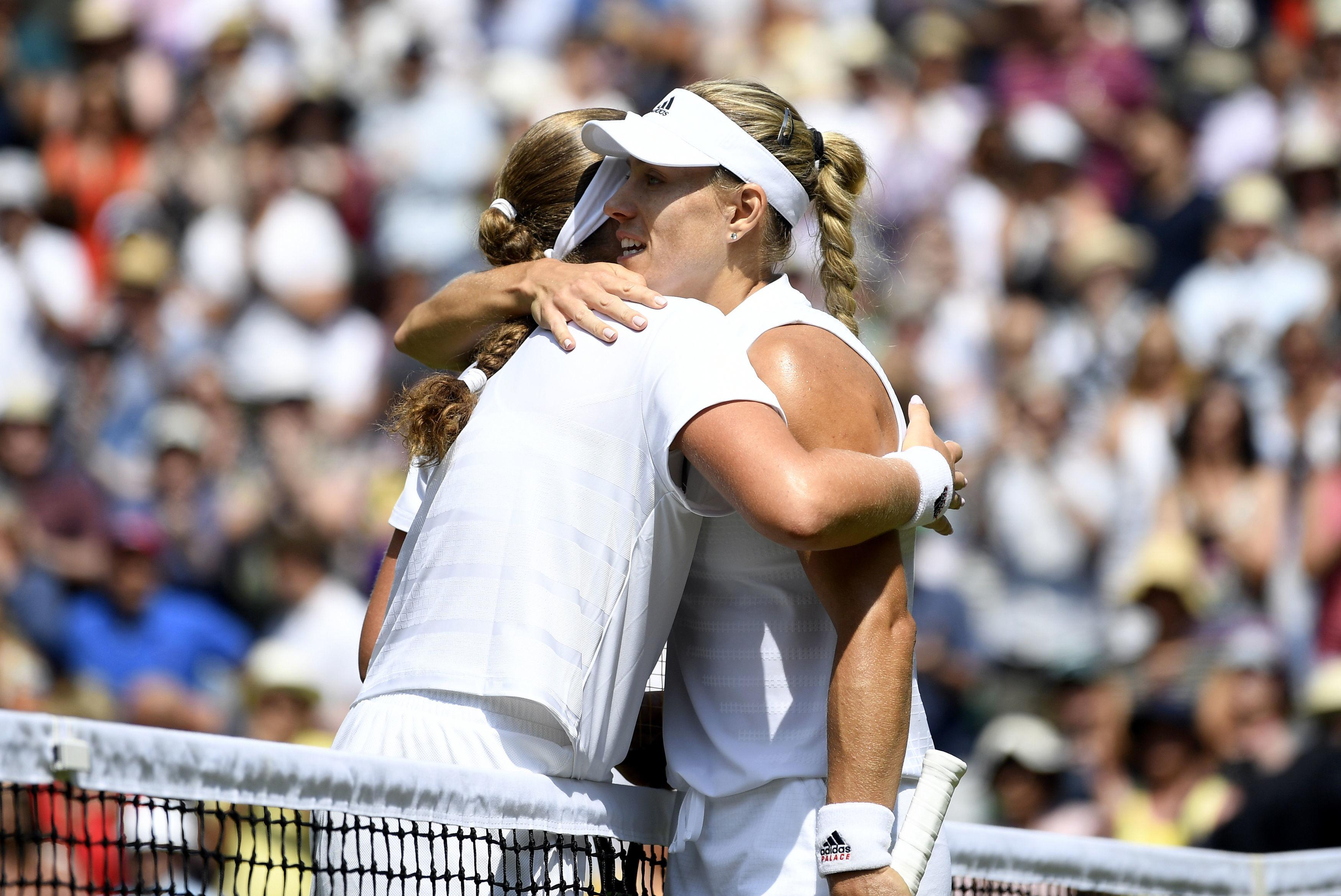 The pair hug after Kerber takes victory in straight sets