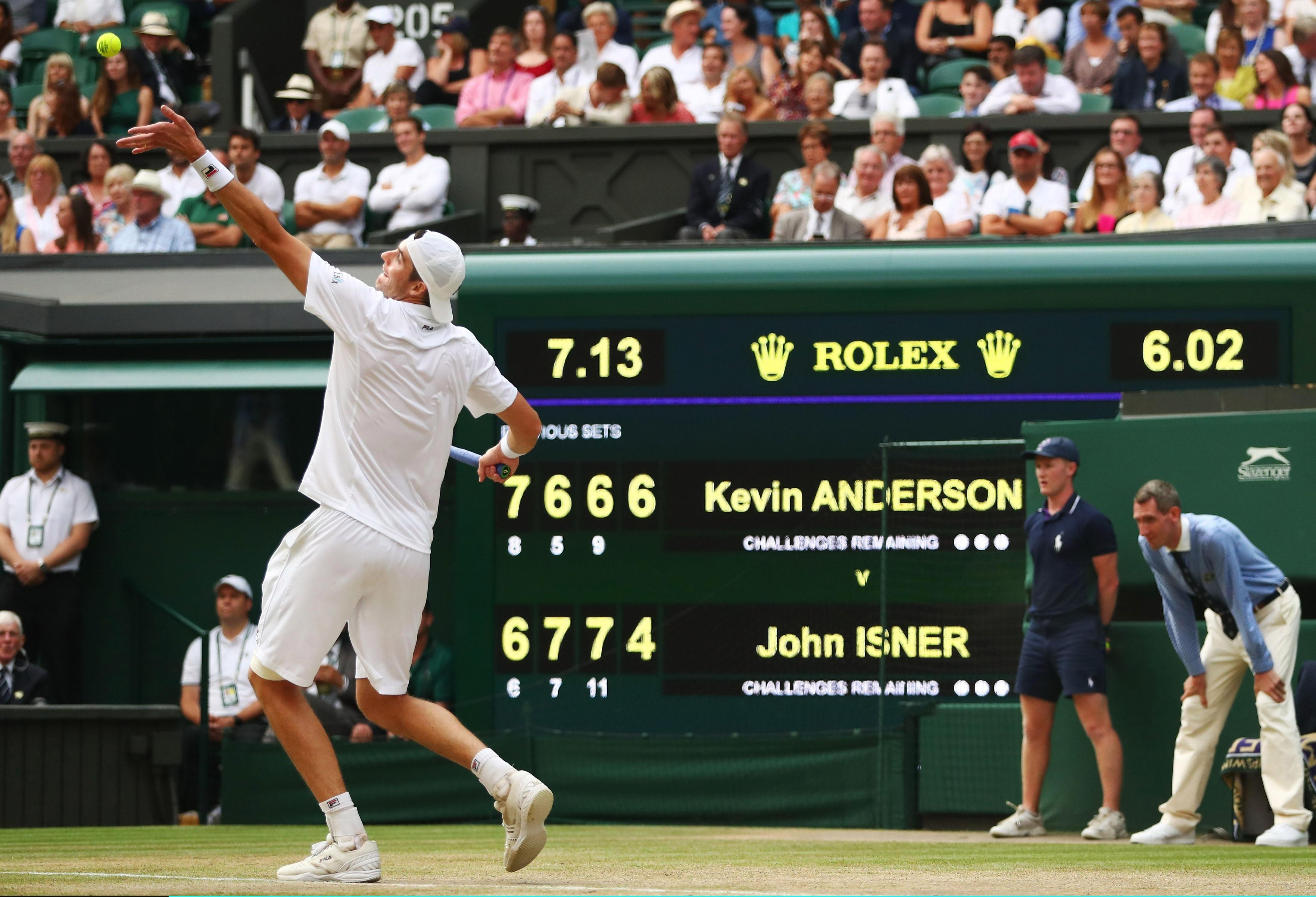 John Isner sends down another rocket as the 2018 Wimbledon semi-final passes the six-hour mark