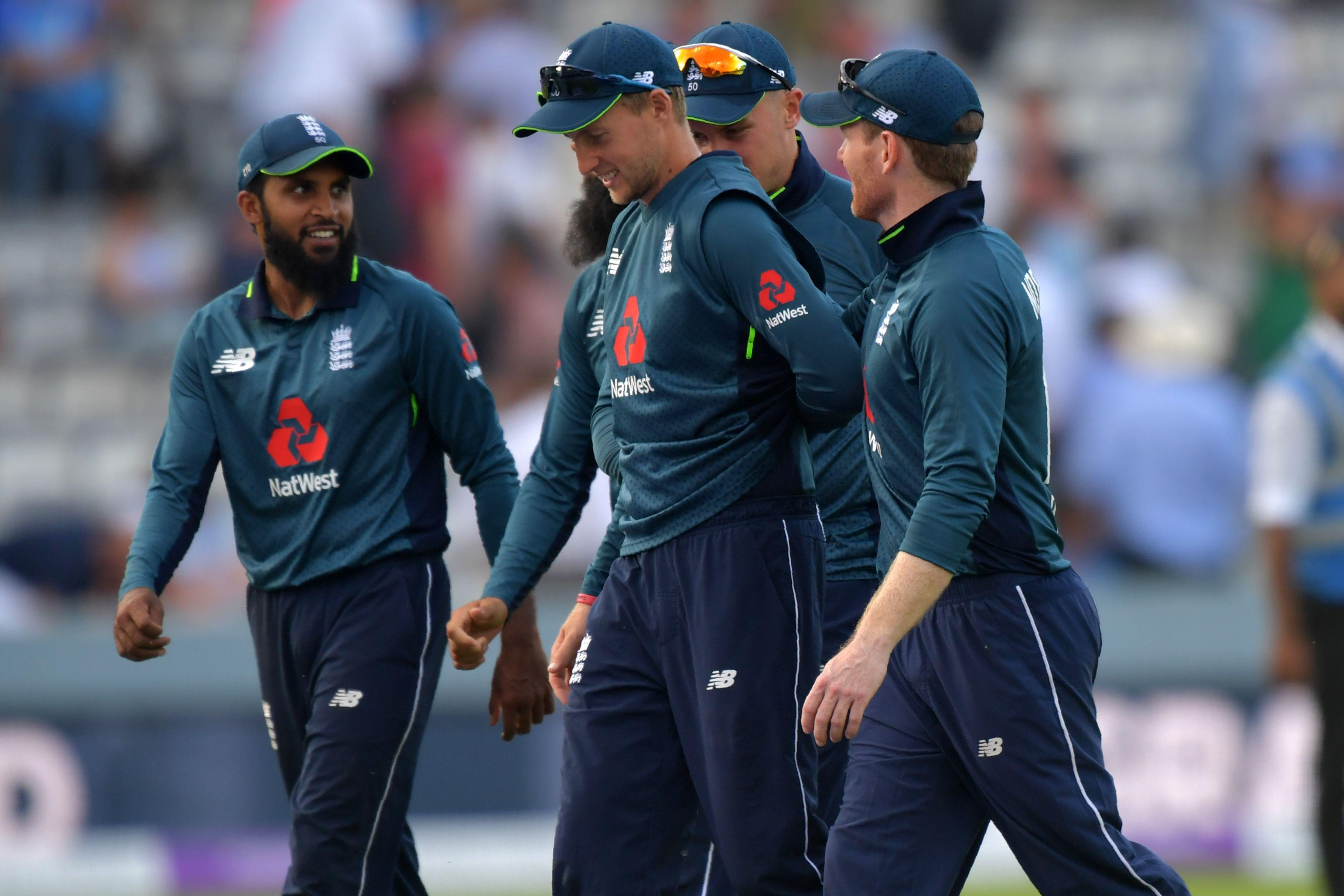 England celebrate levelling the match with one ODI to go