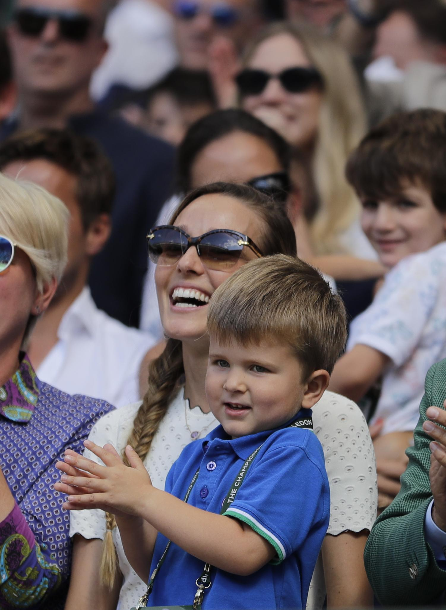 Novak Djokovic was cheered on by his son at Wimbledon