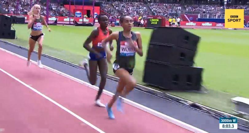 Fantu Worku bizarrely 'ended' the race half a lap early in the 3,000m