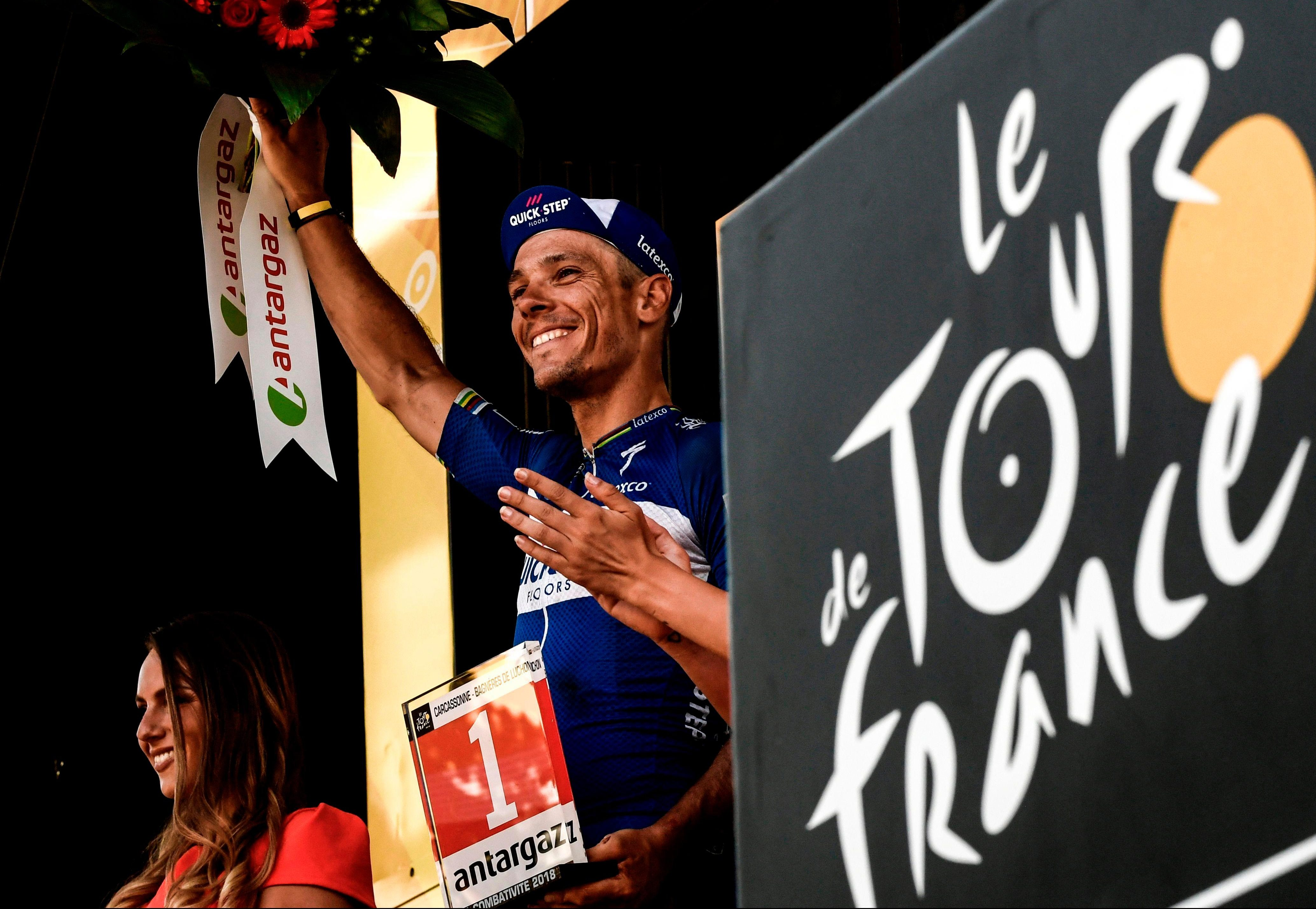 Crash victim Philippe Gilbert had one thing to celebrate - after he was named most combative rider