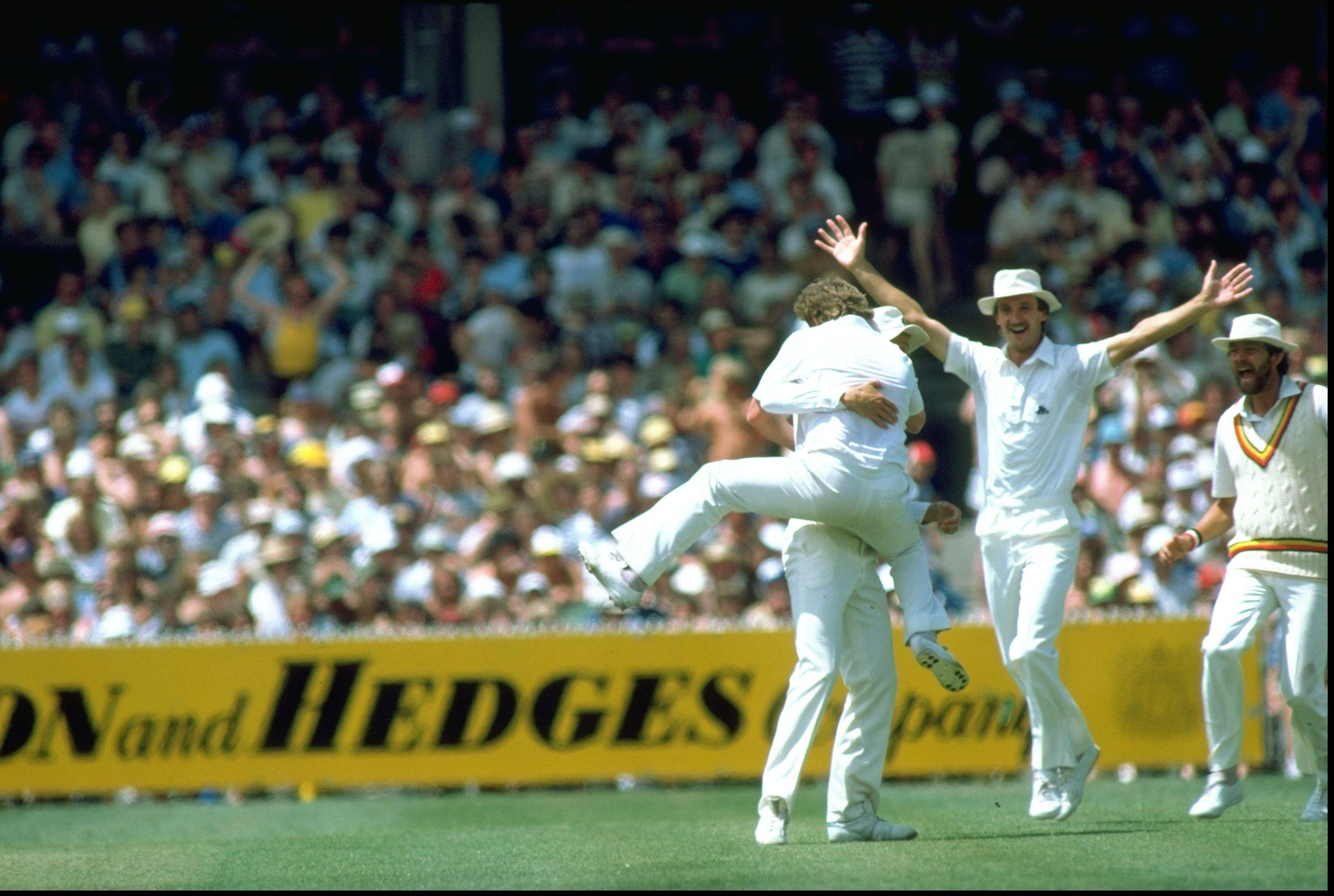 Ian Gould of England catches Greg Chappell of Australia