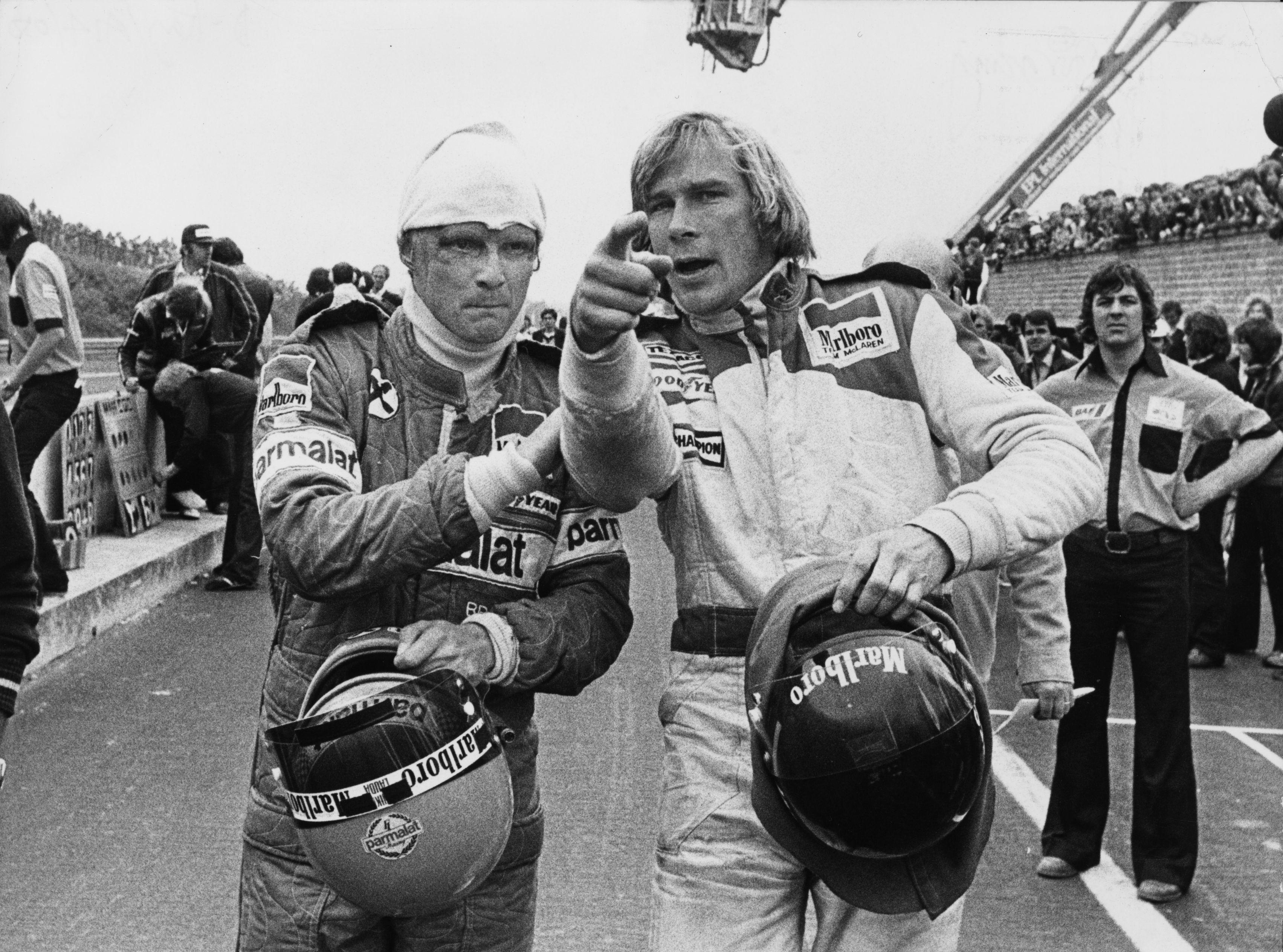 Lauda, left, was severely injured from a fireball crash at the Nurburgring in 1976 and his rivalry with Britain's James Hunt became the stuff of legend
