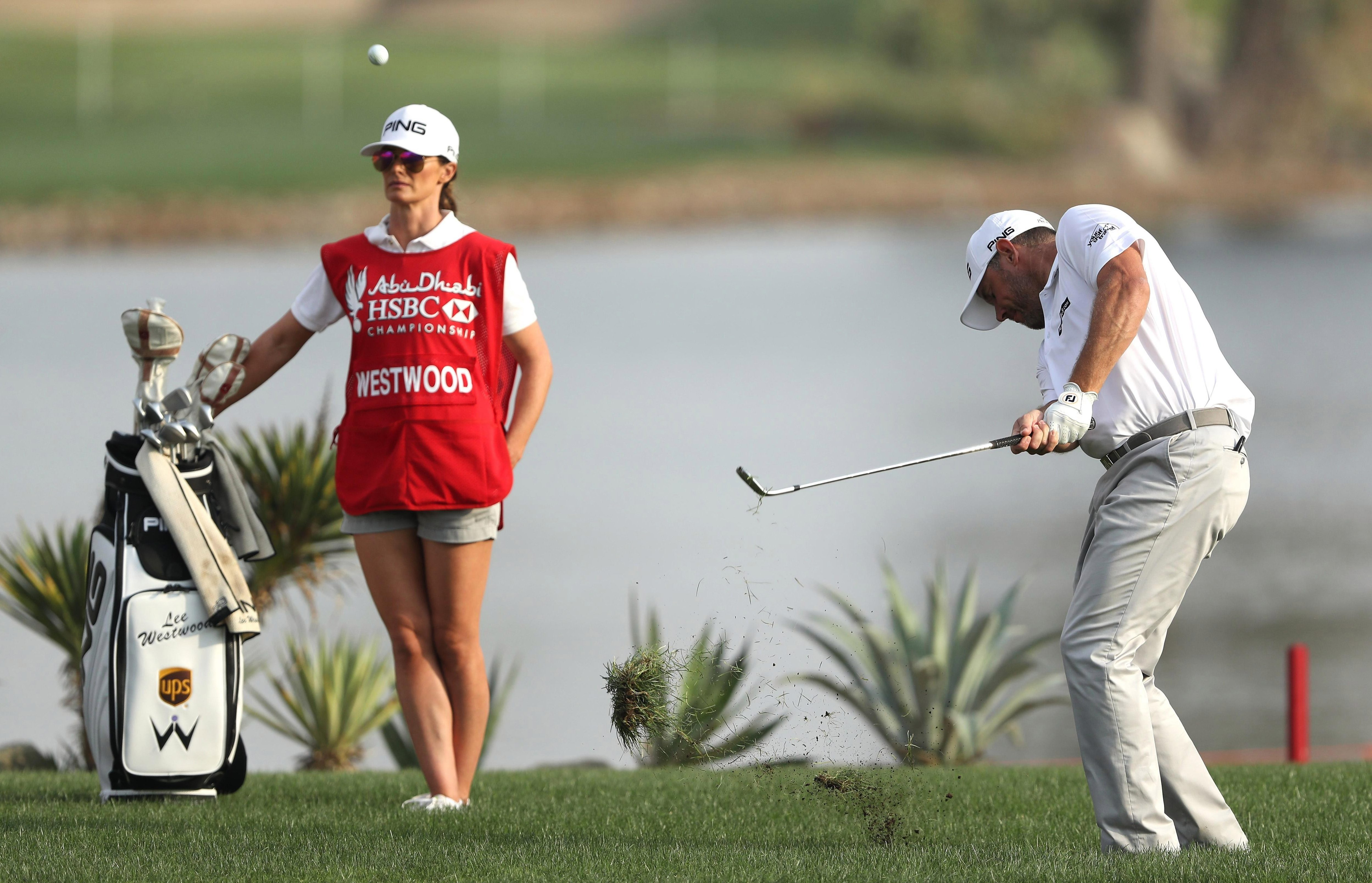 Storey previously caddied for her fella in January last year