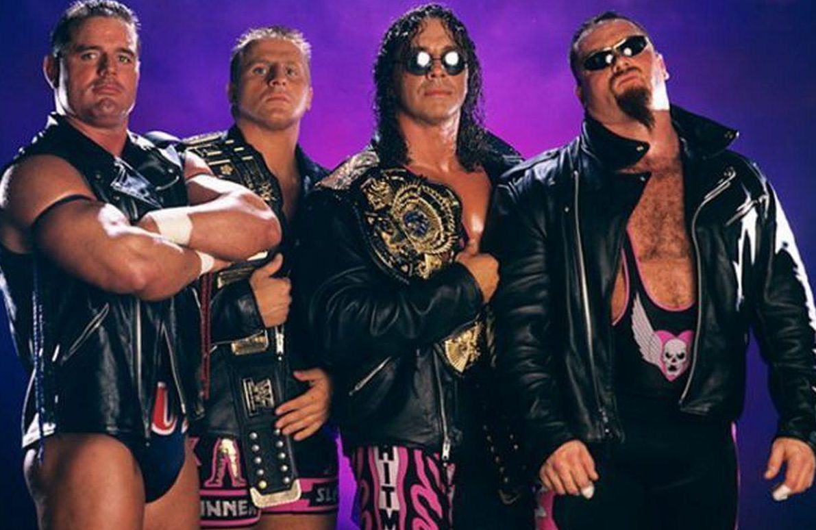 The Anvil (right) lines up with the British Bulldog, and Owen and Bret Hart