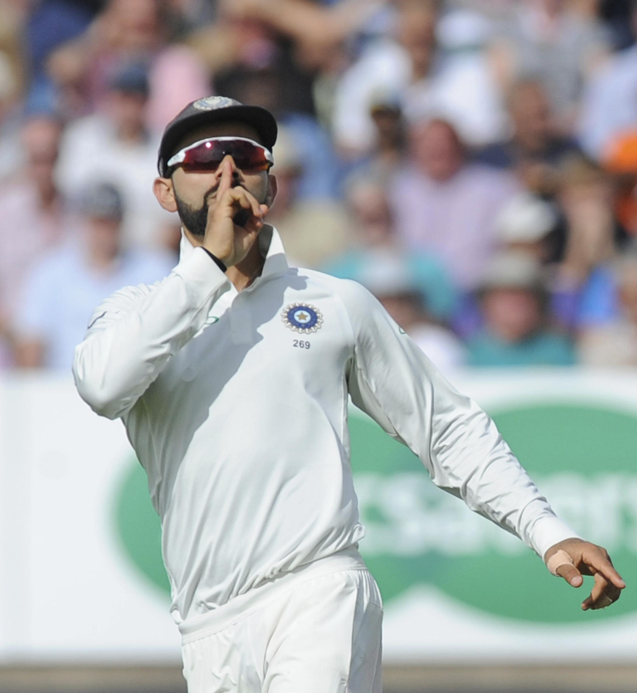India captain Virat Kohli gives Joe Root the send off after claiming his wicket
