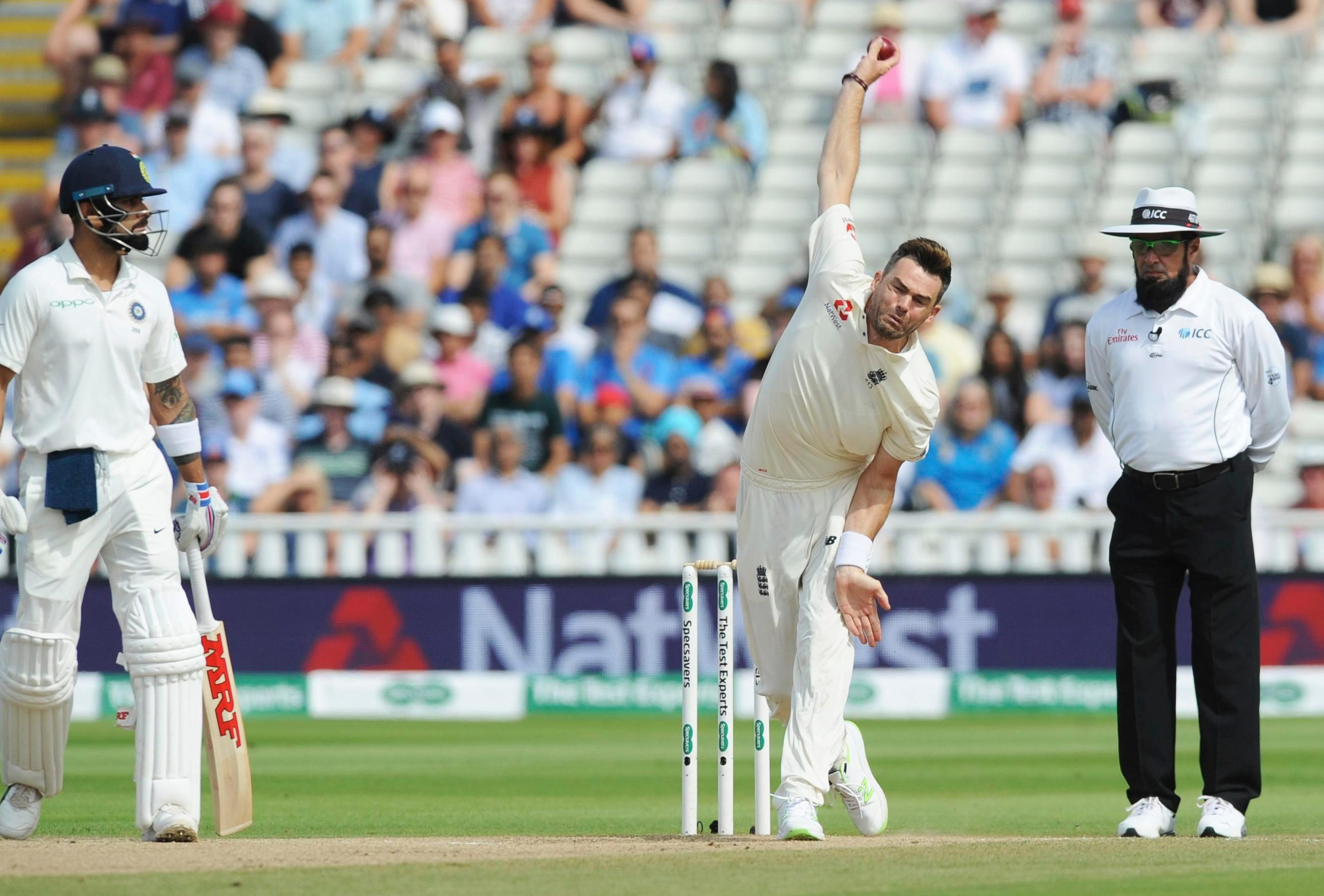 Virat Kohli looks on as James Anderson bowls on his way to two wickets in each innings in an intriguing series opener, before they will switch to Lord's
