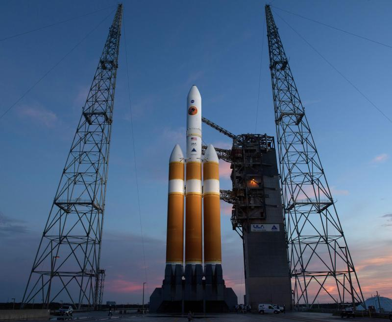 The Delta IV rocket carrying the probe waits to take off this morning