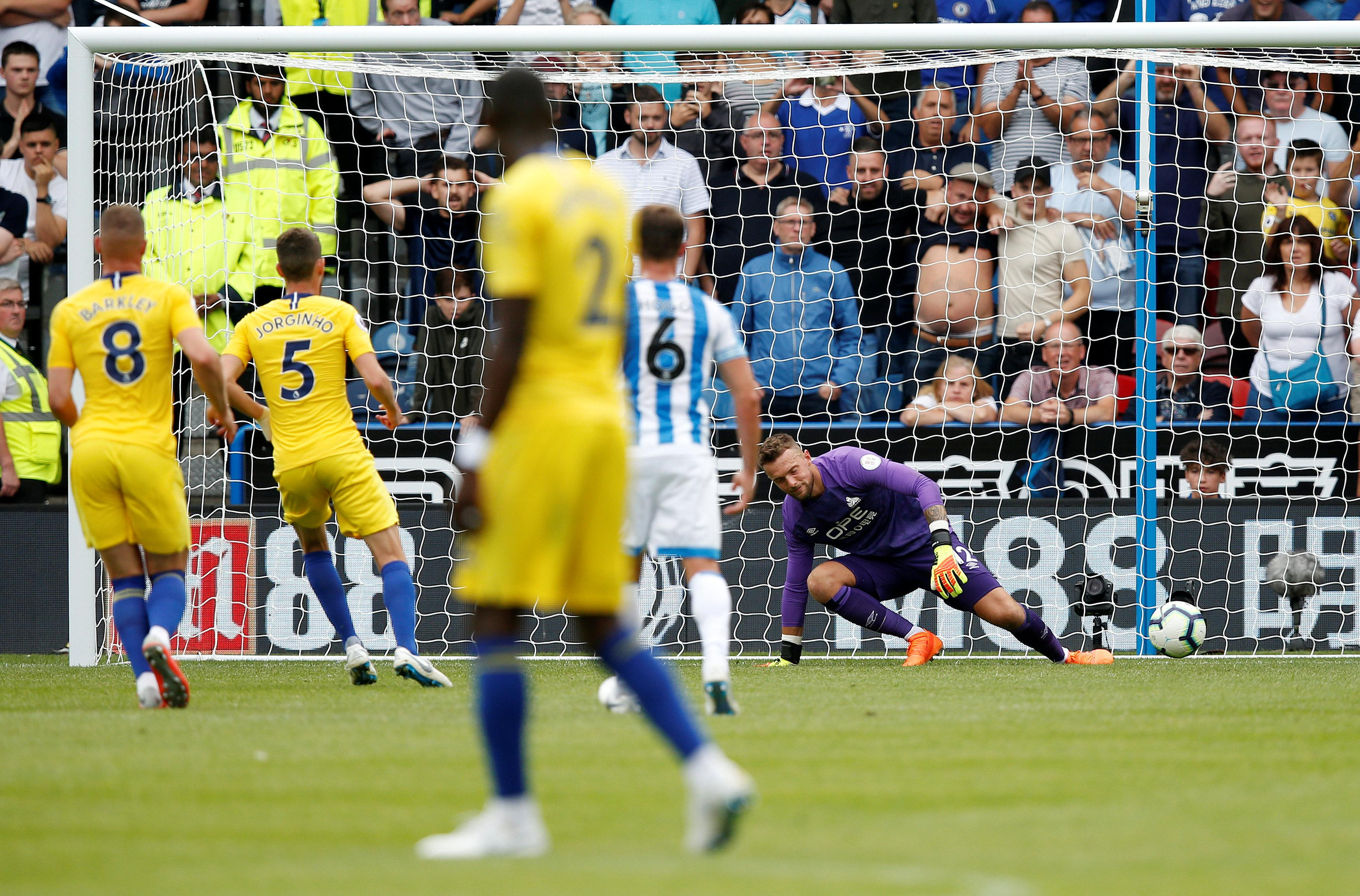 Jorginho scored a crazy penalty as Chelsea took a 2-0 lead at Huddersfield