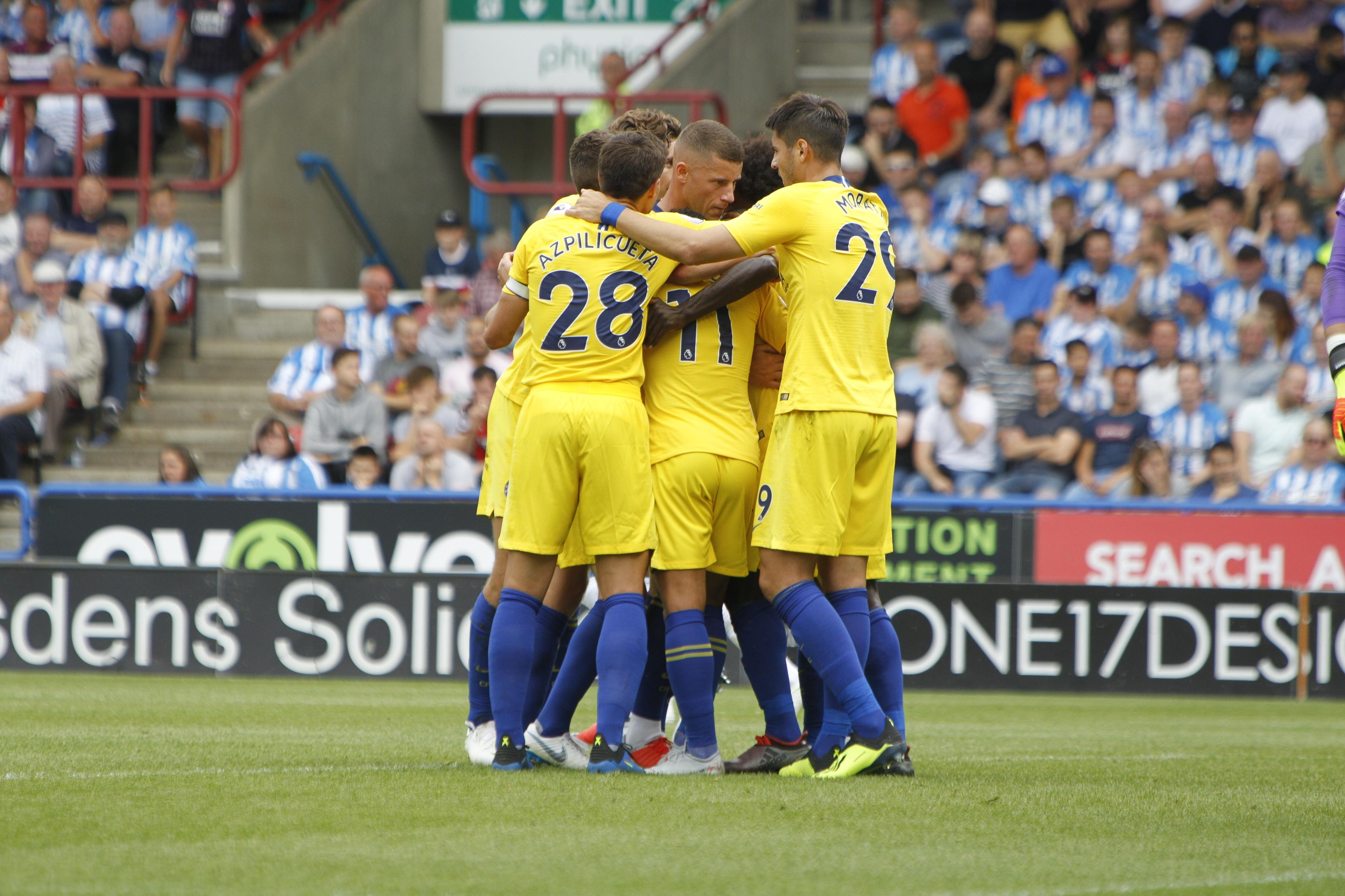 Chelsea celebrated Premier League debutant Jorginho netting from the spot