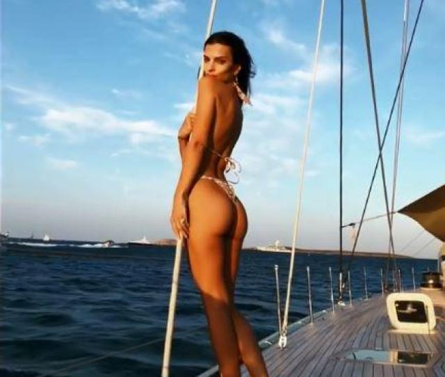 Emily Ratajkowski Bares Her Bum In A Thong Bikini As She Dances Around On A Boat In Italy