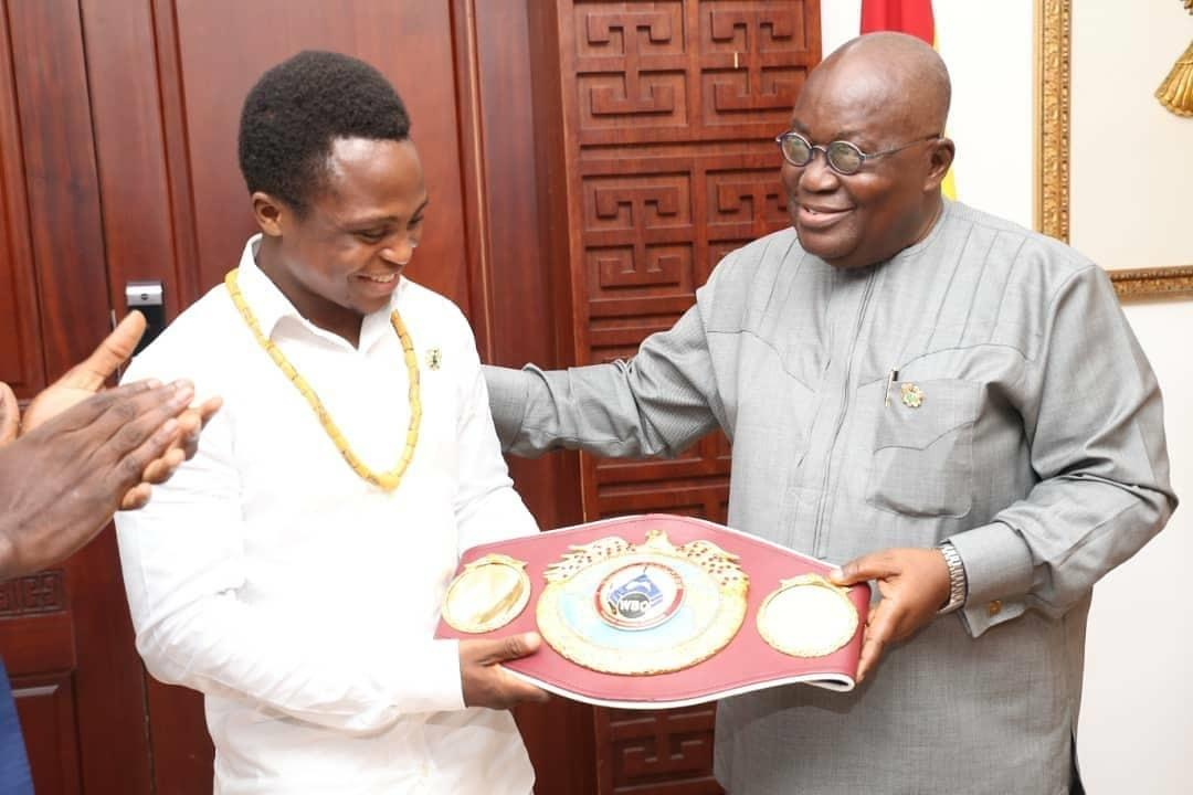 Dogboe showed of his belt to Ghana president Nana Addo Dankwa Akufo-Addo