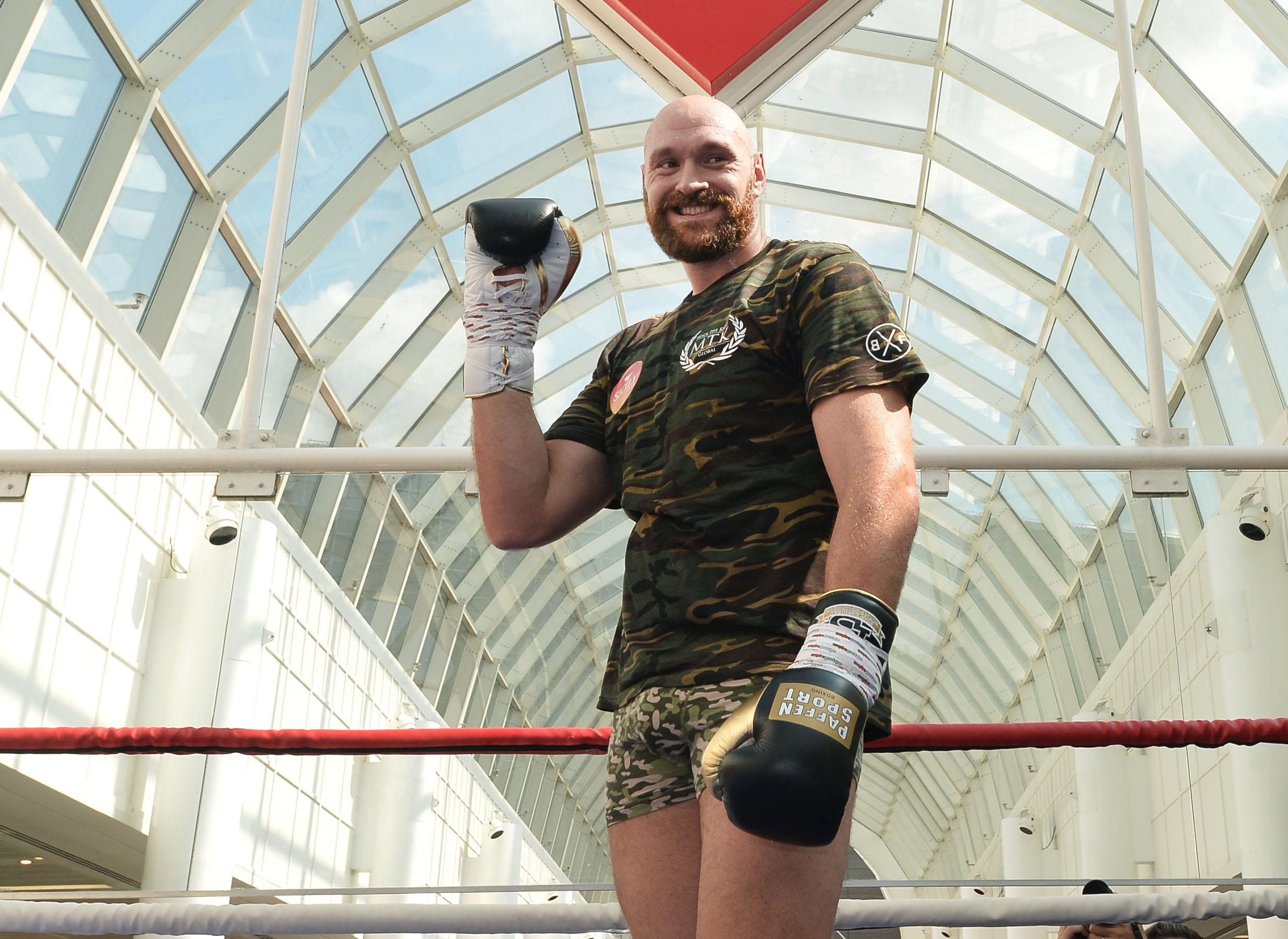 The self-proclaimed Gypsy King during a public workout on Wednesday