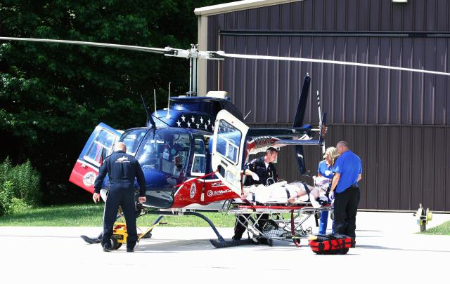 Cody was taken to University of Tennessee Medical Centre by helicopter after being bitten in the face by a snake