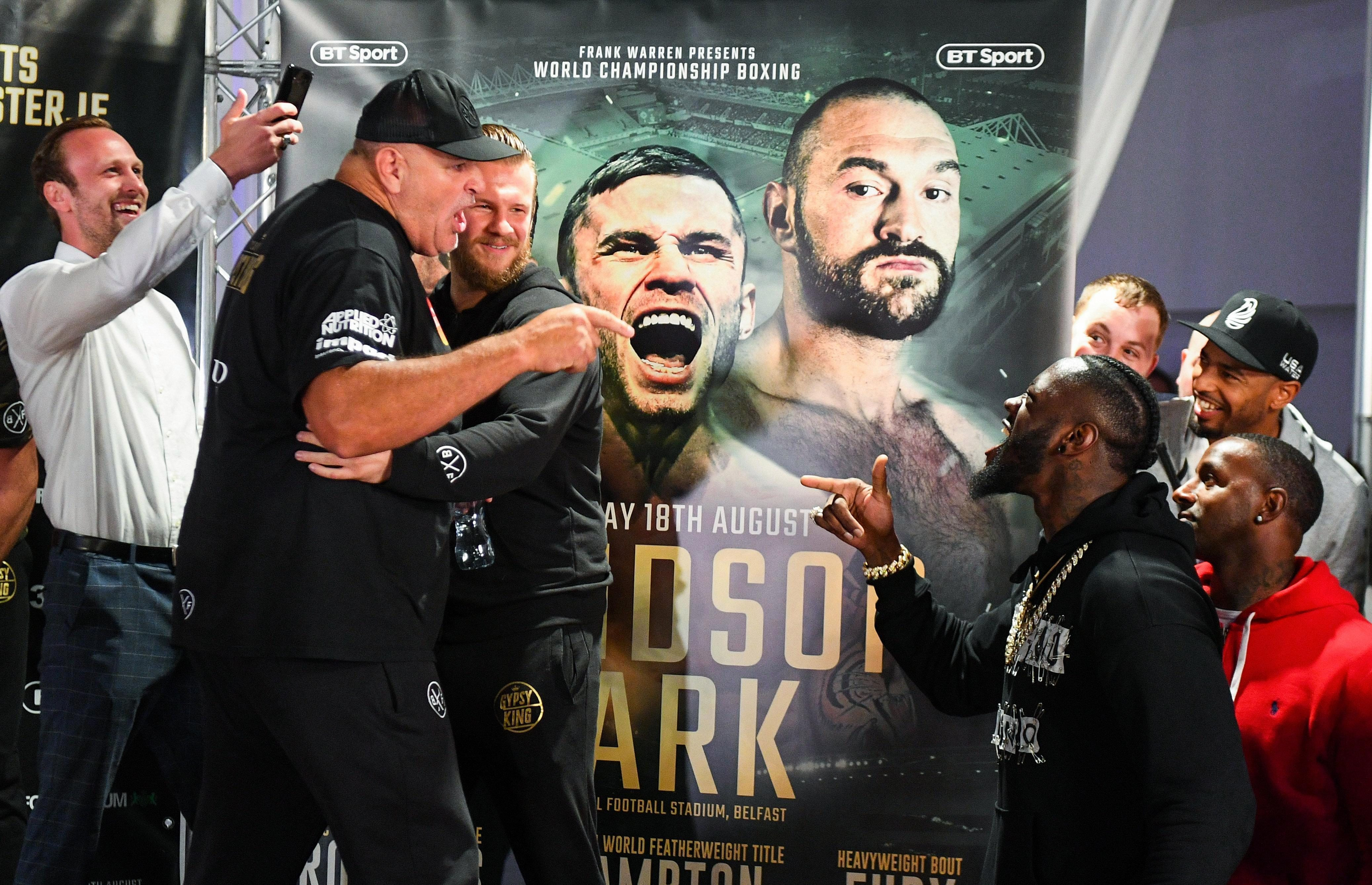John Fury and Deontay Wilder clashed in Belfast at Tyson Fury's weigh-in