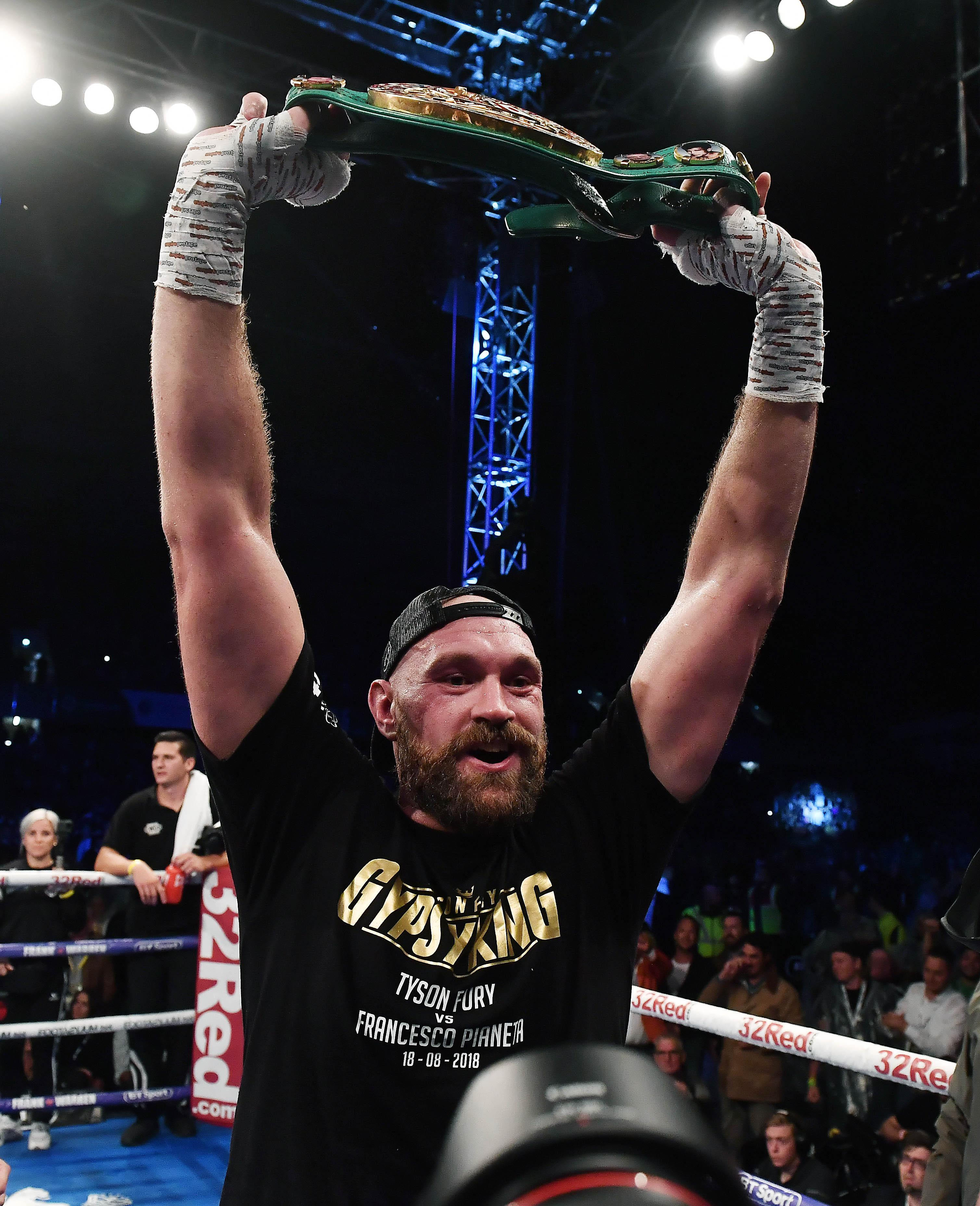 Tyson Fury got his hands on the WBC belt but had to give it back to the American