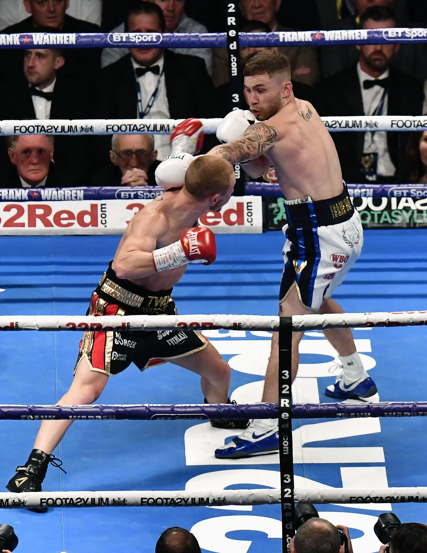 Carl Frampton claimed victory over the Aussie in the ninth round