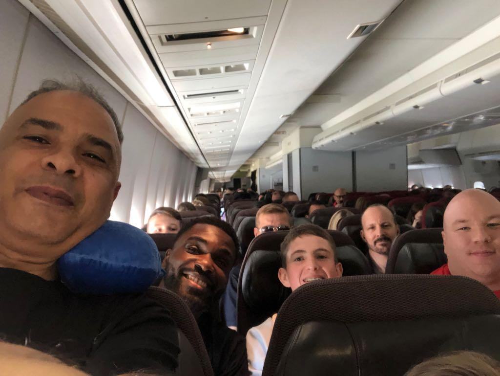 The flight home with London fighters and officials was a merry one